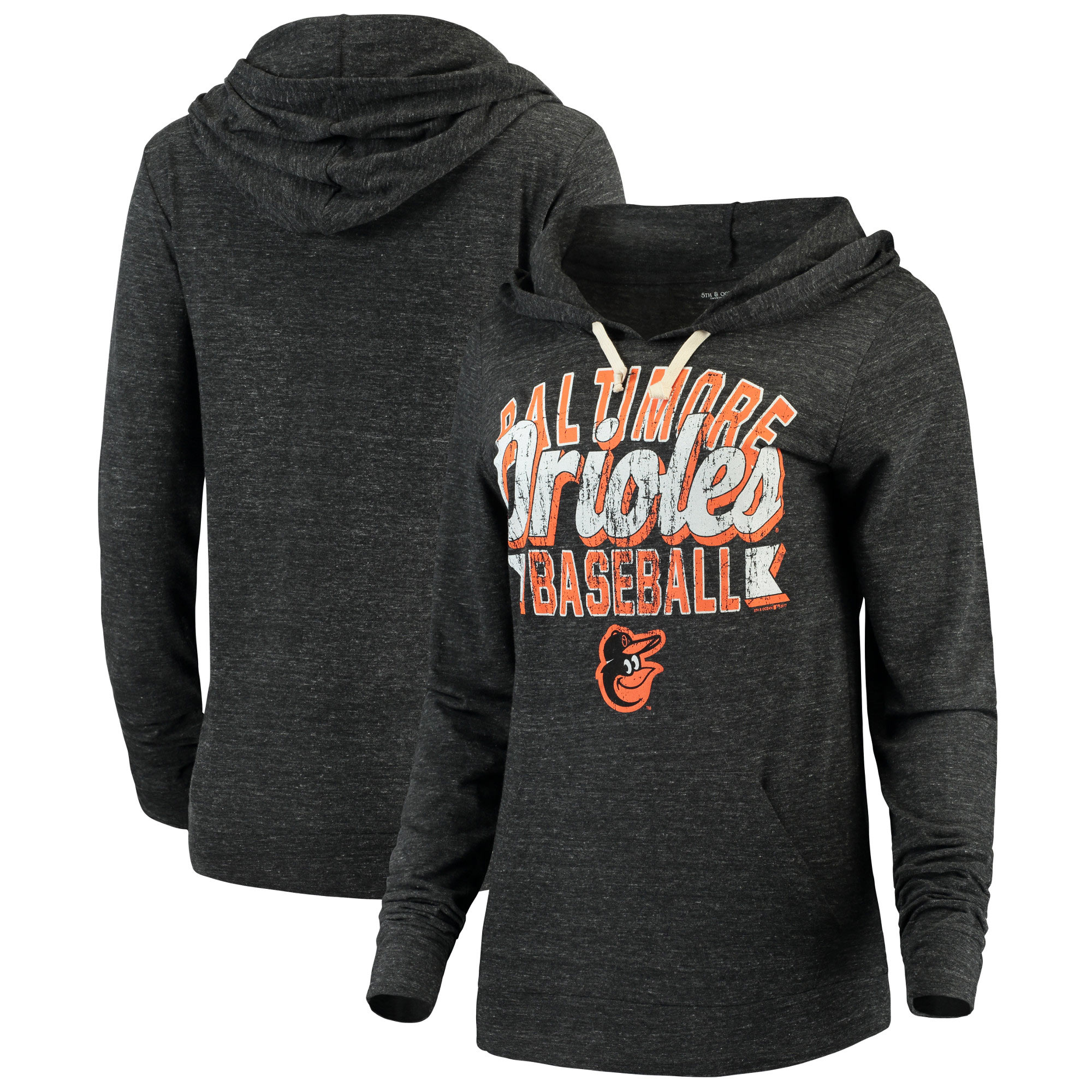Baltimore Orioles 5th & Ocean by New Era Women's Jersey Tri-Blend Pullover Hoodie - Black
