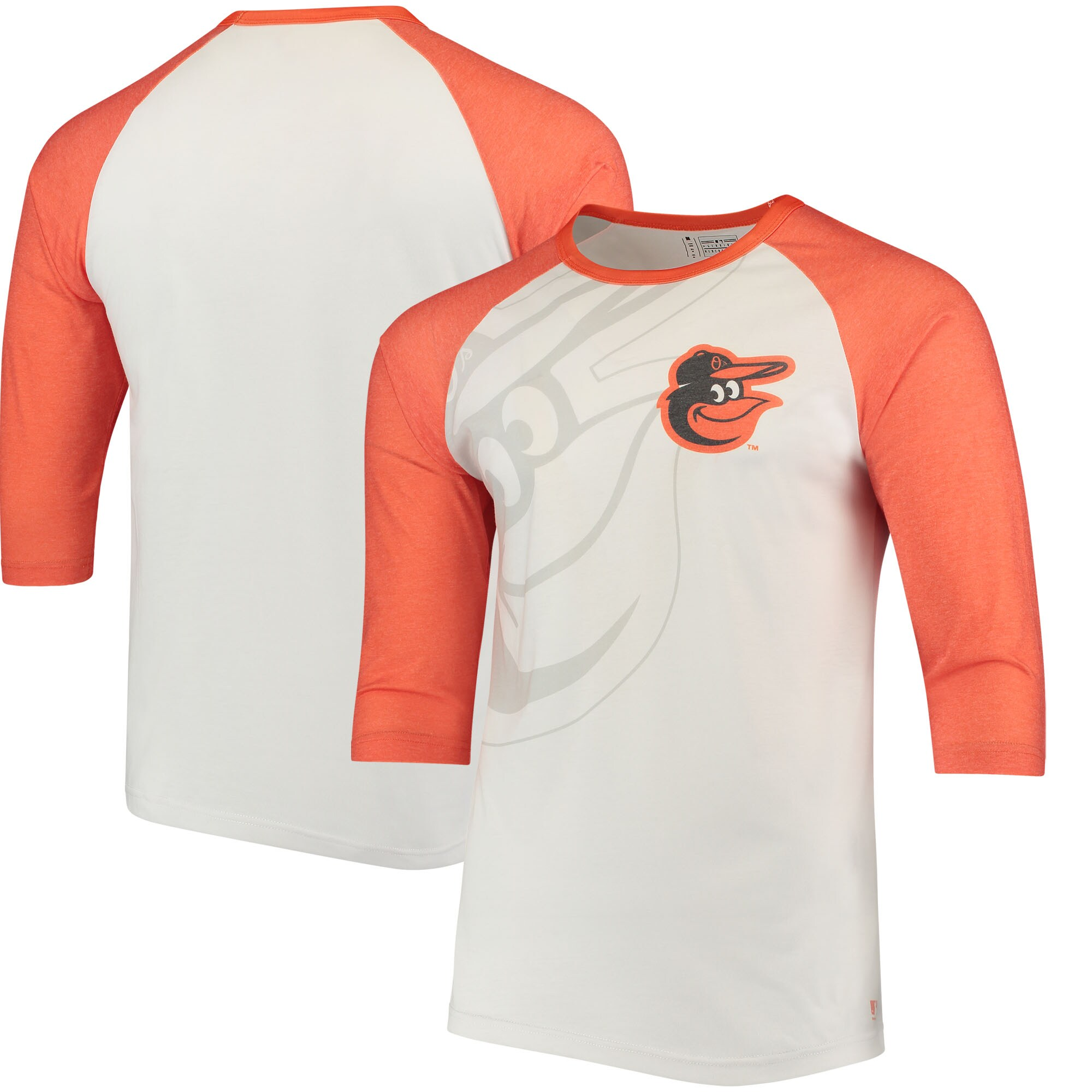 Baltimore Orioles Baseball 3/4-Sleeve Raglan T-Shirt - White/Orange