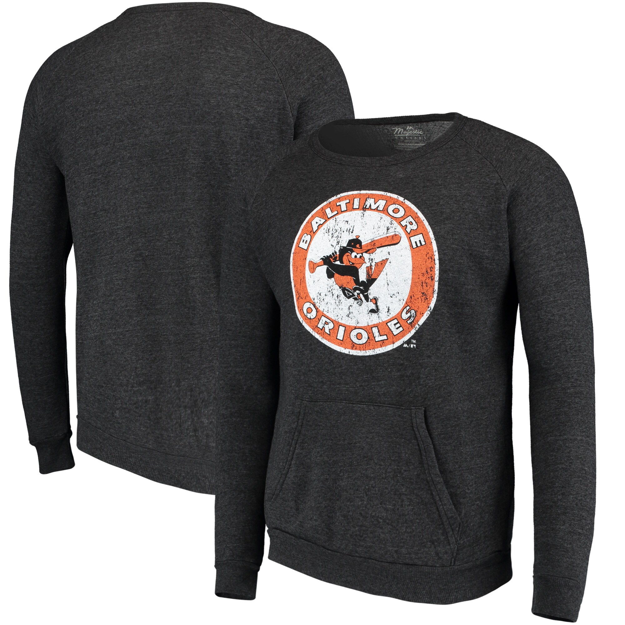 Baltimore Orioles Majestic Threads Cooperstown Collection Tri-Blend Pocket Fleece Sweatshirt - Black