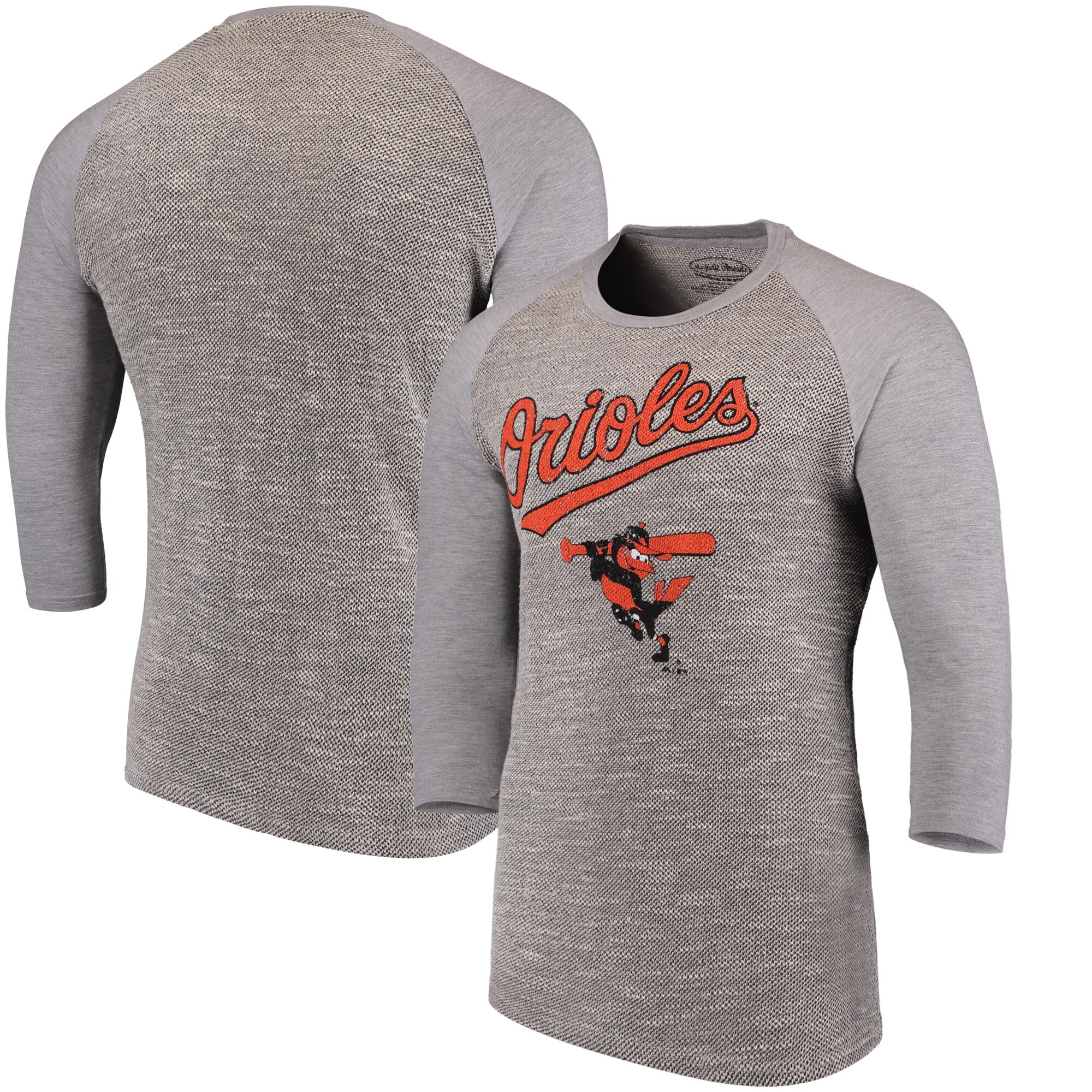 Baltimore Orioles Majestic Threads Tri-Yarn French Terry 3/4-Sleeve Raglan T-Shirt - Gray