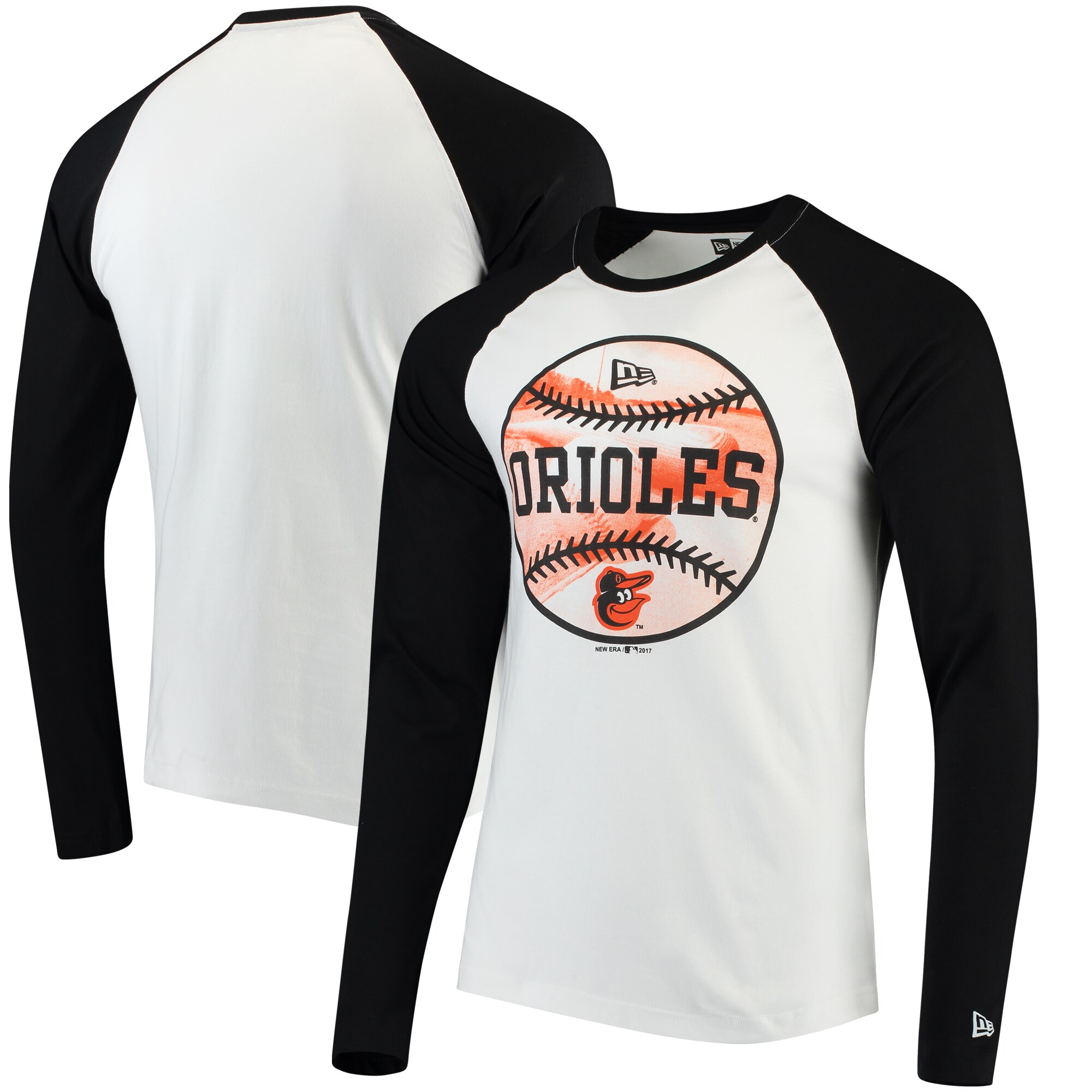 Baltimore Orioles New Era Raglan Long Sleeve T-Shirt - White/Black