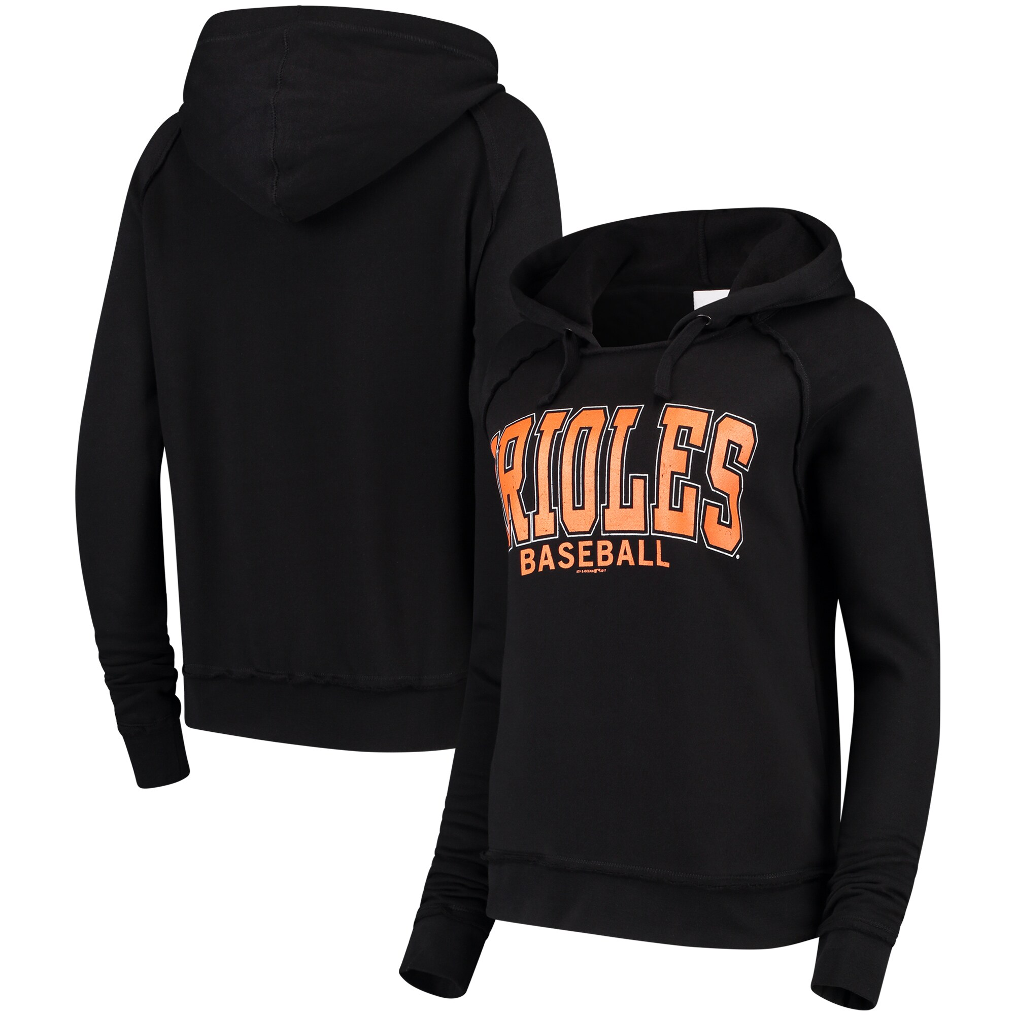 Baltimore Orioles 5th & Ocean by New Era Women's Defense Raglan Pullover Hoodie - Black
