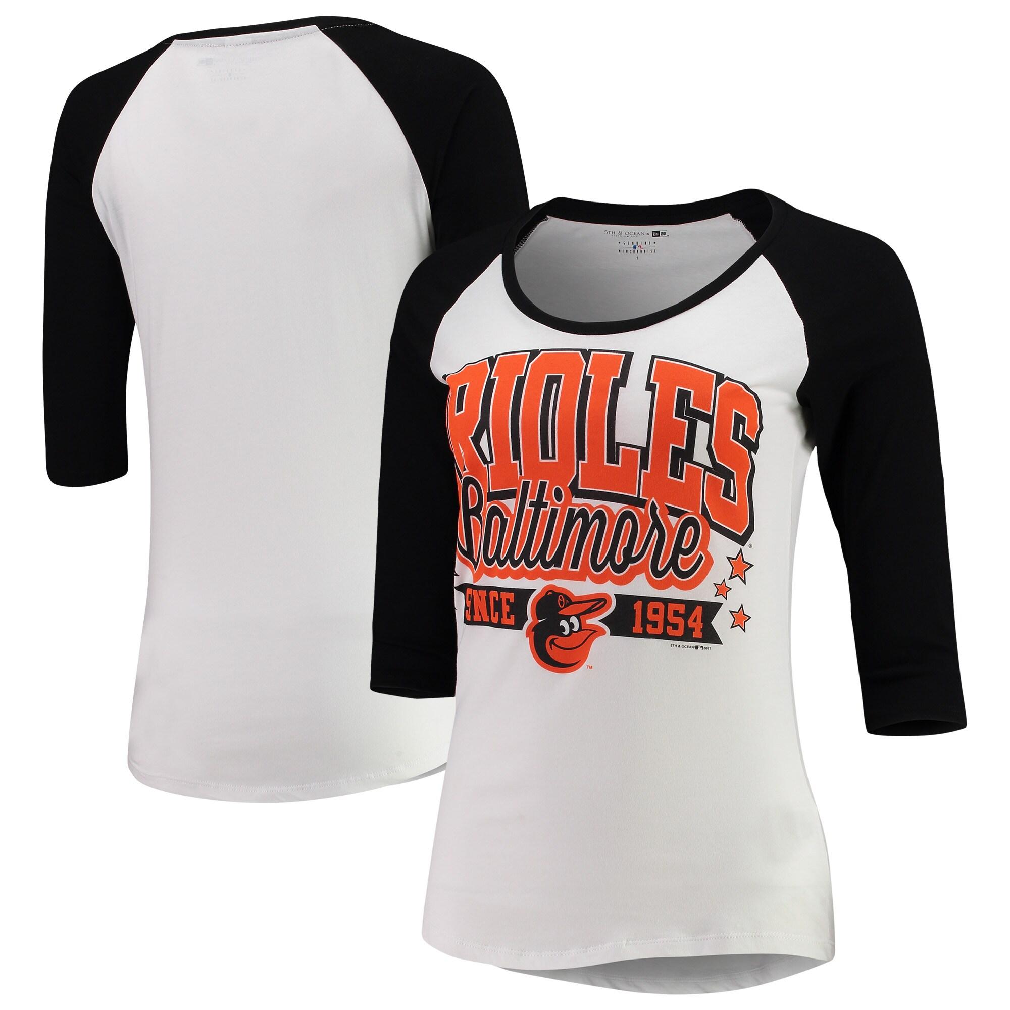 Baltimore Orioles 5th & Ocean by New Era Women's Team Banner 3/4-Sleeve Raglan T-Shirt - White/Black