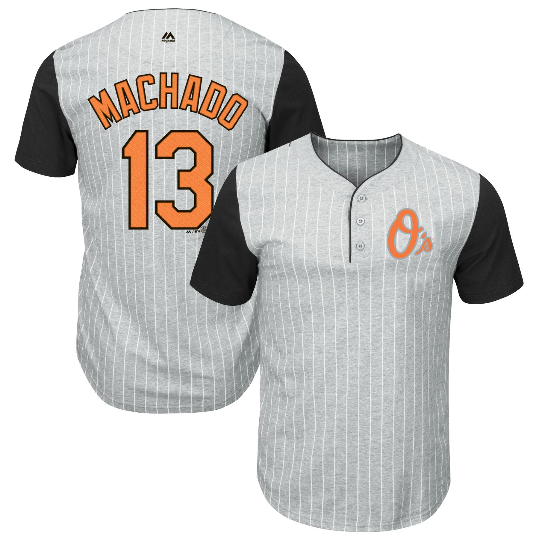 Manny Machado Baltimore Orioles Majestic Big & Tall Pinstripe Player T-Shirt - Gray/Black