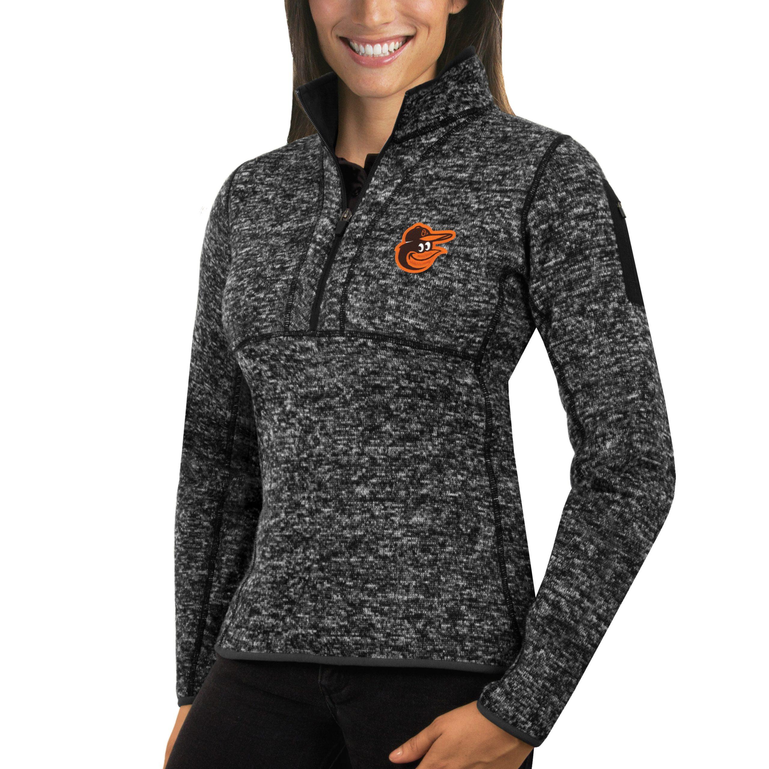 Baltimore Orioles Antigua Women's Fortune Half-Zip Pullover Sweater - Heathered Black