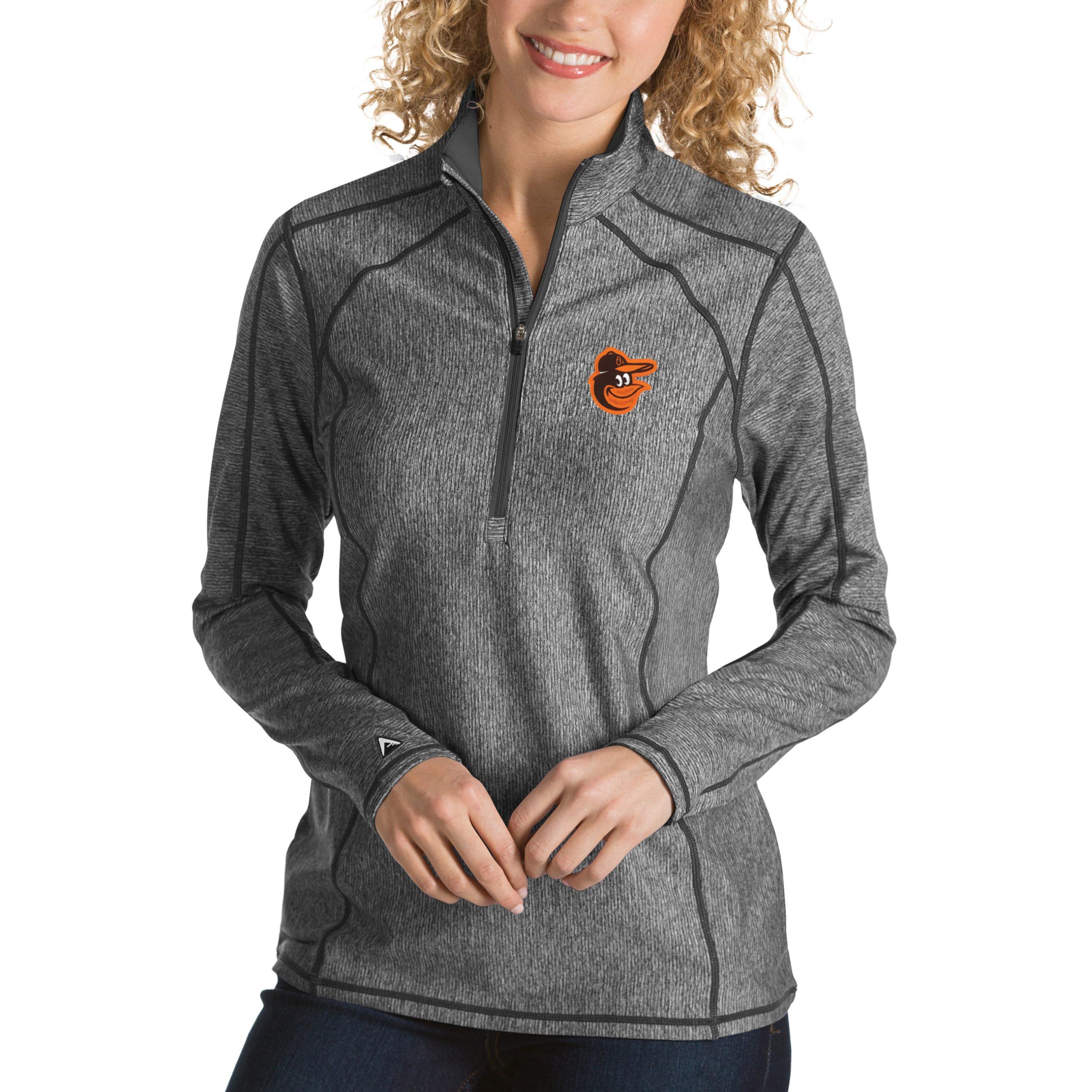 Baltimore Orioles Antigua Women's Tempo Desert Dry 1/4-Zip Pullover Jacket - Heathered Charcoal