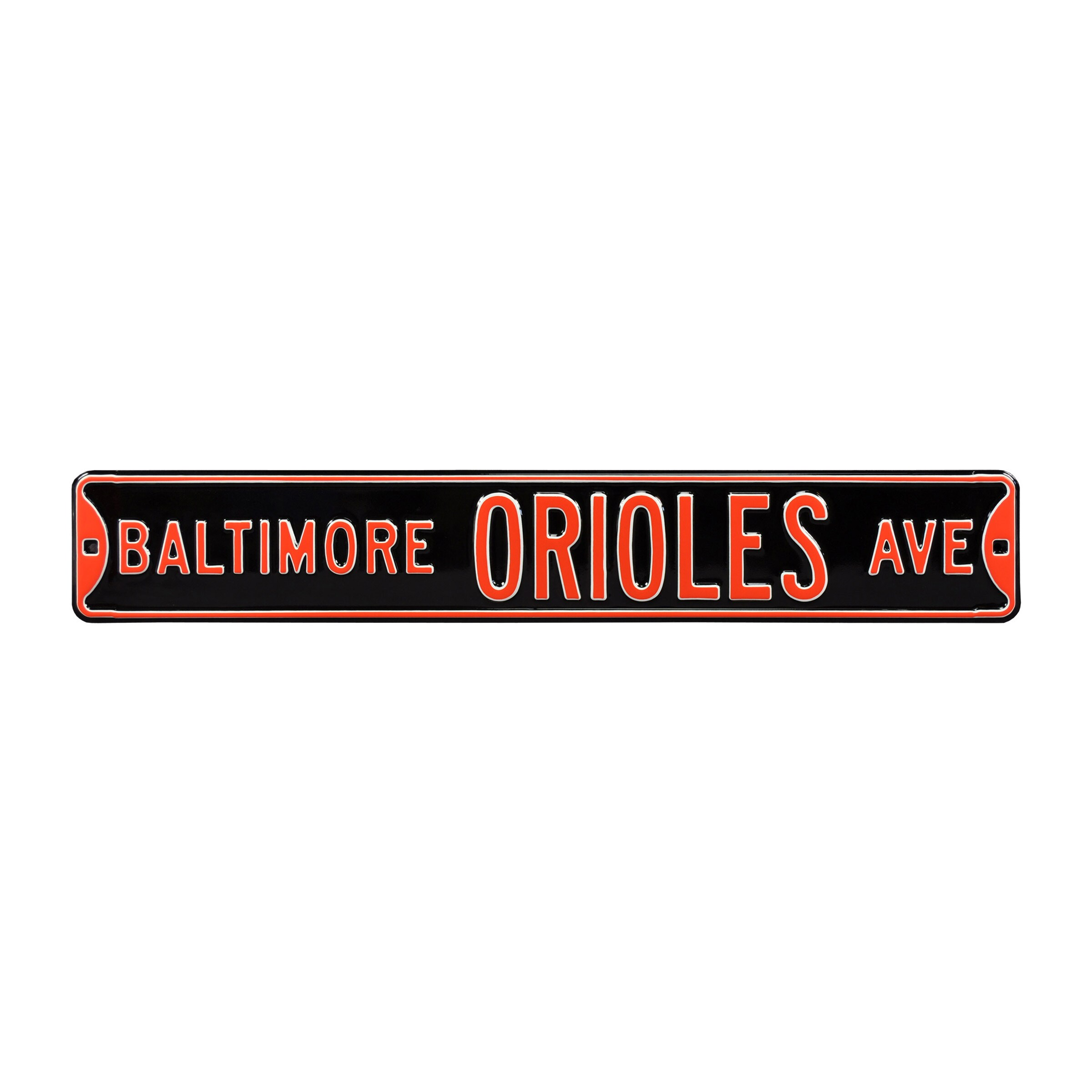 """Baltimore Orioles 6"""" x 36"""" Steel Ave Sign Wall Art - Black"""