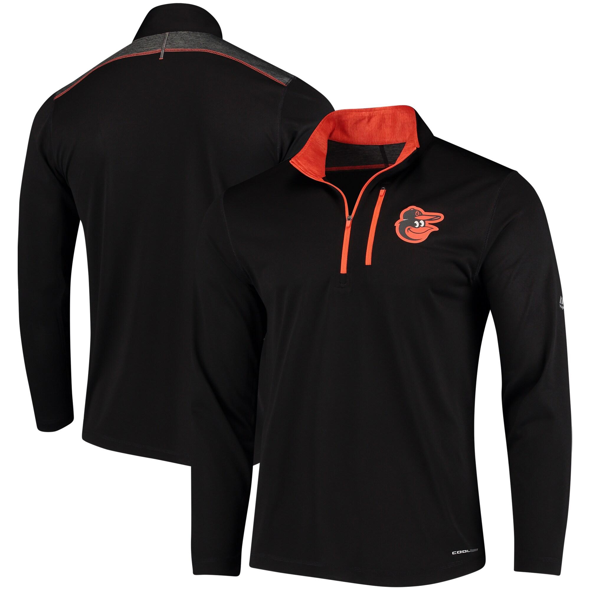 Baltimore Orioles Majestic Half-Zip Pullover Top - Black