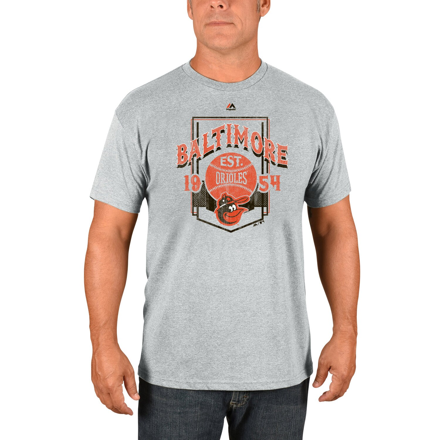 Baltimore Orioles Majestic Cooperstown Collection Vintage Style T-Shirt - Gray