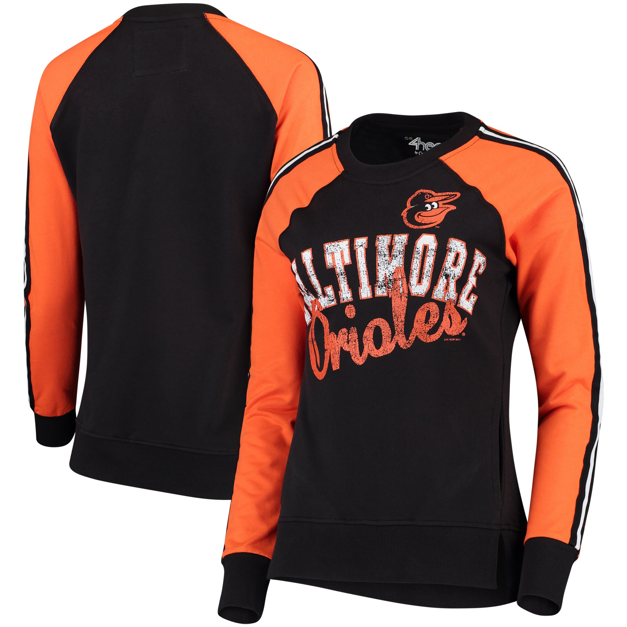 Baltimore Orioles G-III 4Her by Carl Banks Women's Perfect Pitch Pullover Sweatshirt - Black/Orange