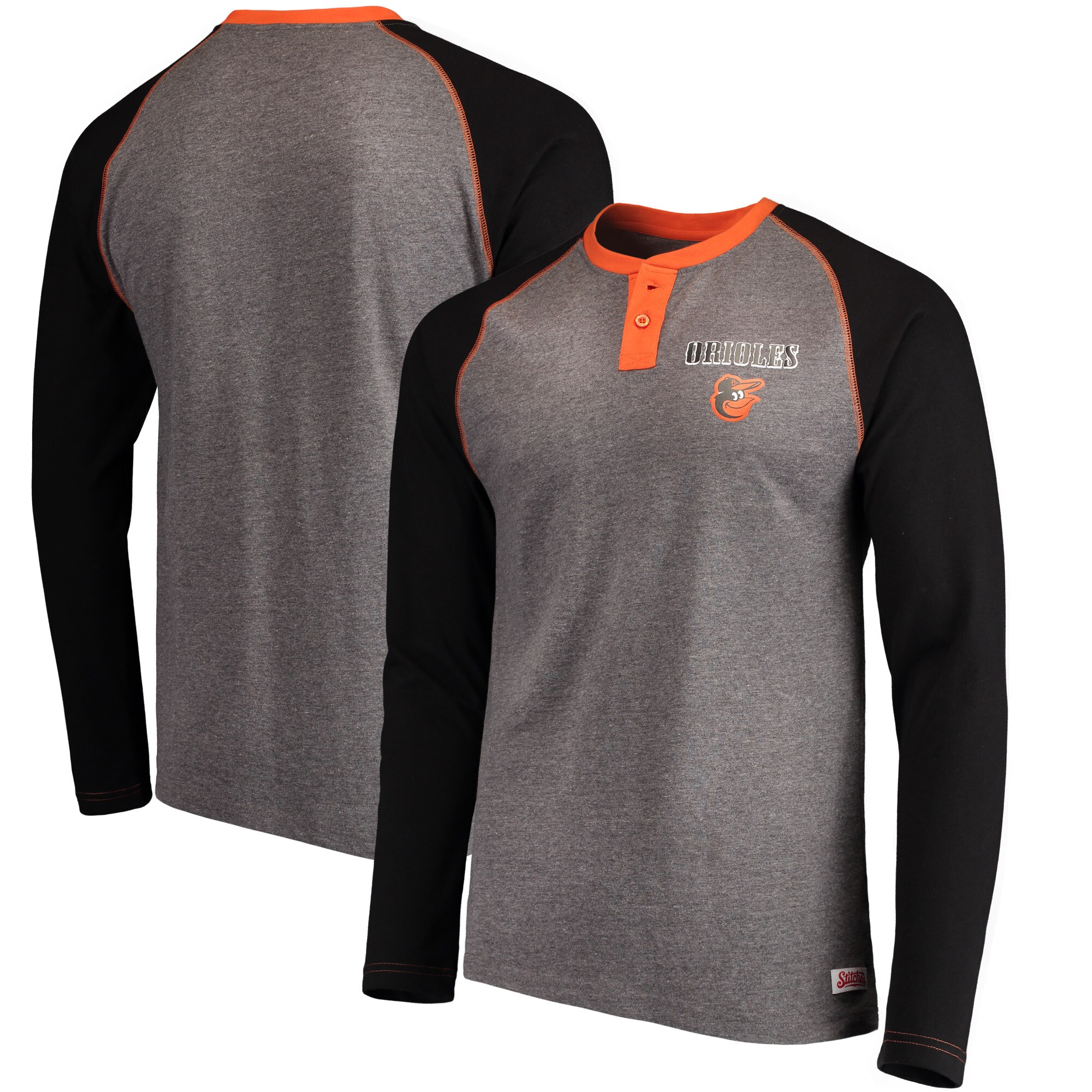 Baltimore Orioles Stitches Home Run Long Sleeve Henley T-Shirt - Heathered Gray/Black