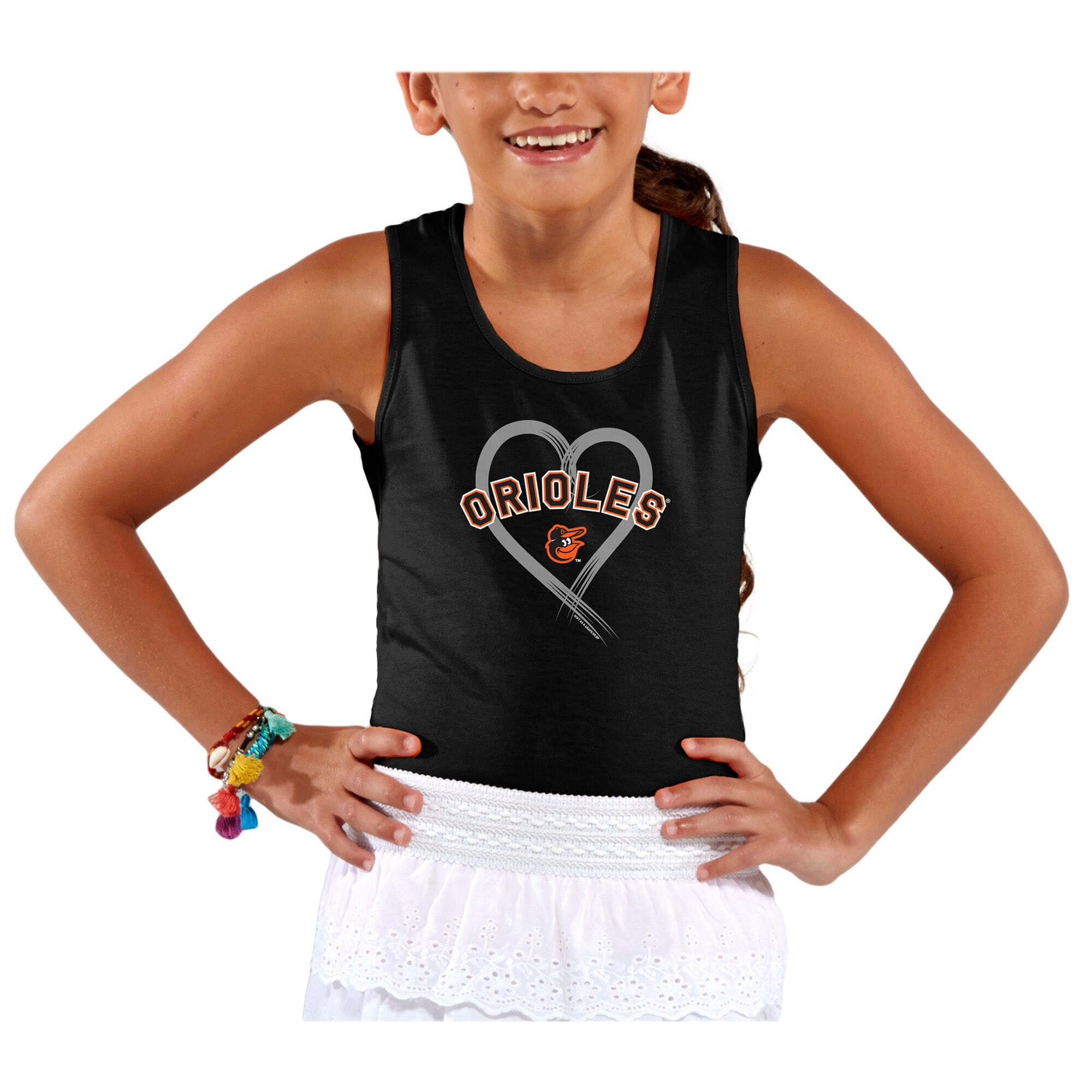 Baltimore Orioles Soft as a Grape Girls Youth Rally Tank Top - Black