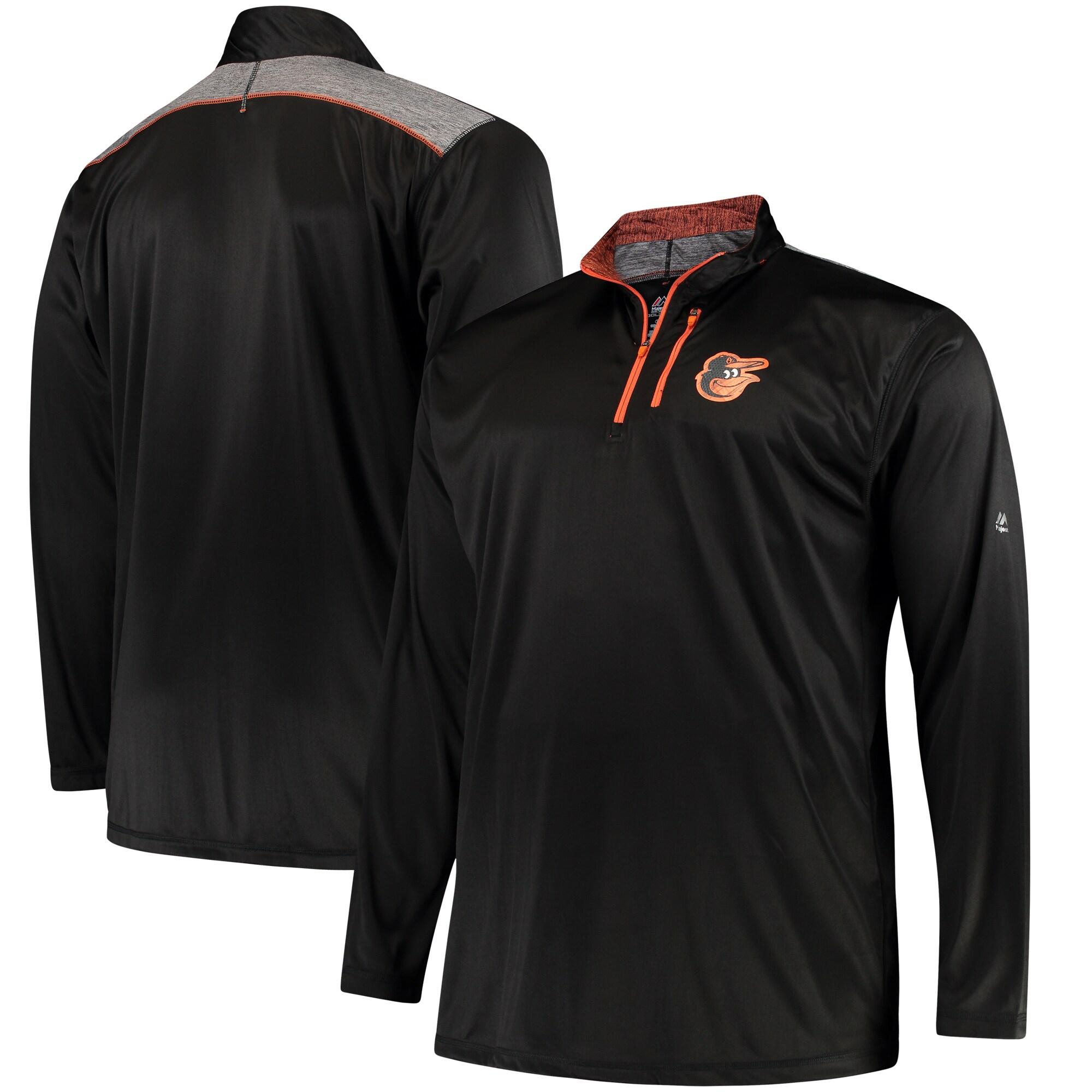 Baltimore Orioles Majestic Big & Tall 643 Half-Zip Pullover Jacket - Black