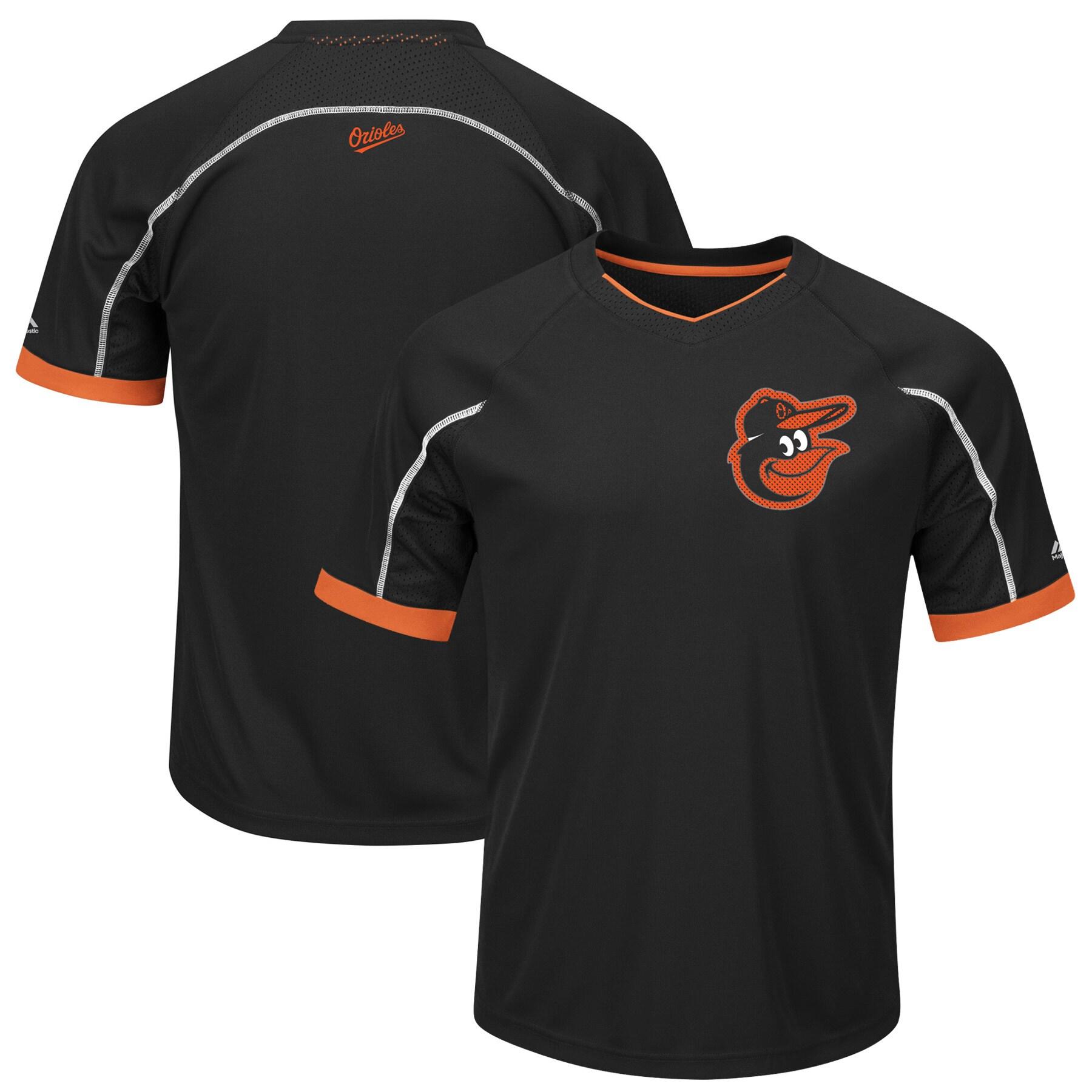 Baltimore Orioles Majestic Big & Tall Emergence V-Neck T-Shirt - Black/Orange