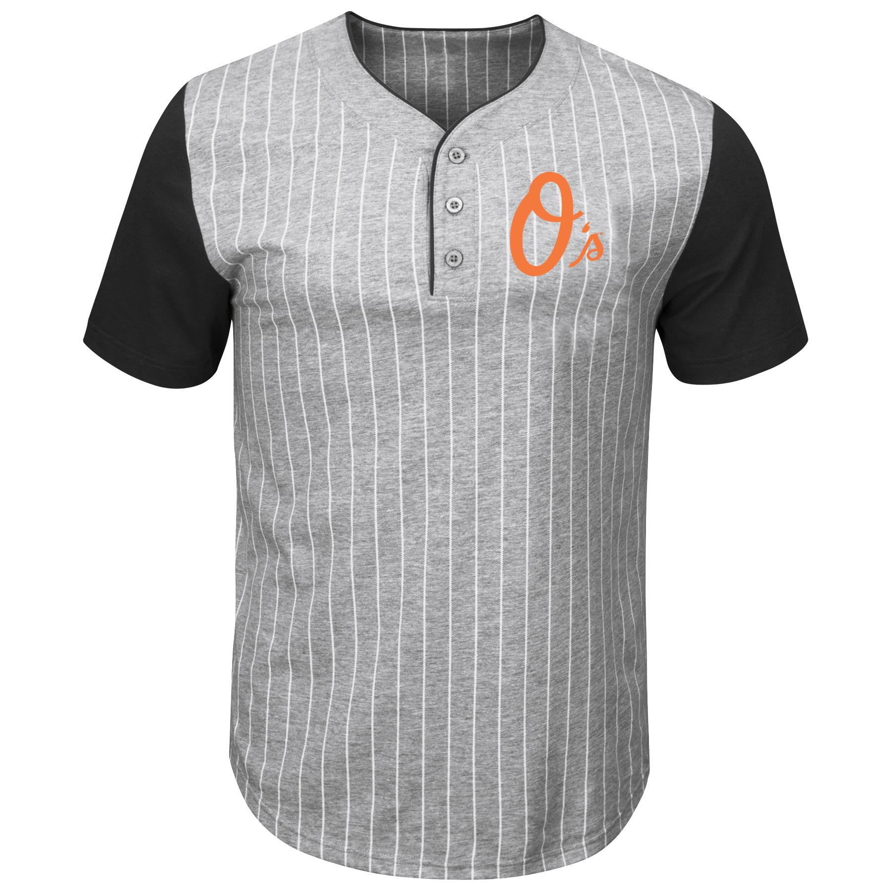 Baltimore Orioles Majestic Big & Tall Life or Death Pinstripe Henley T-Shirt - Gray/Black