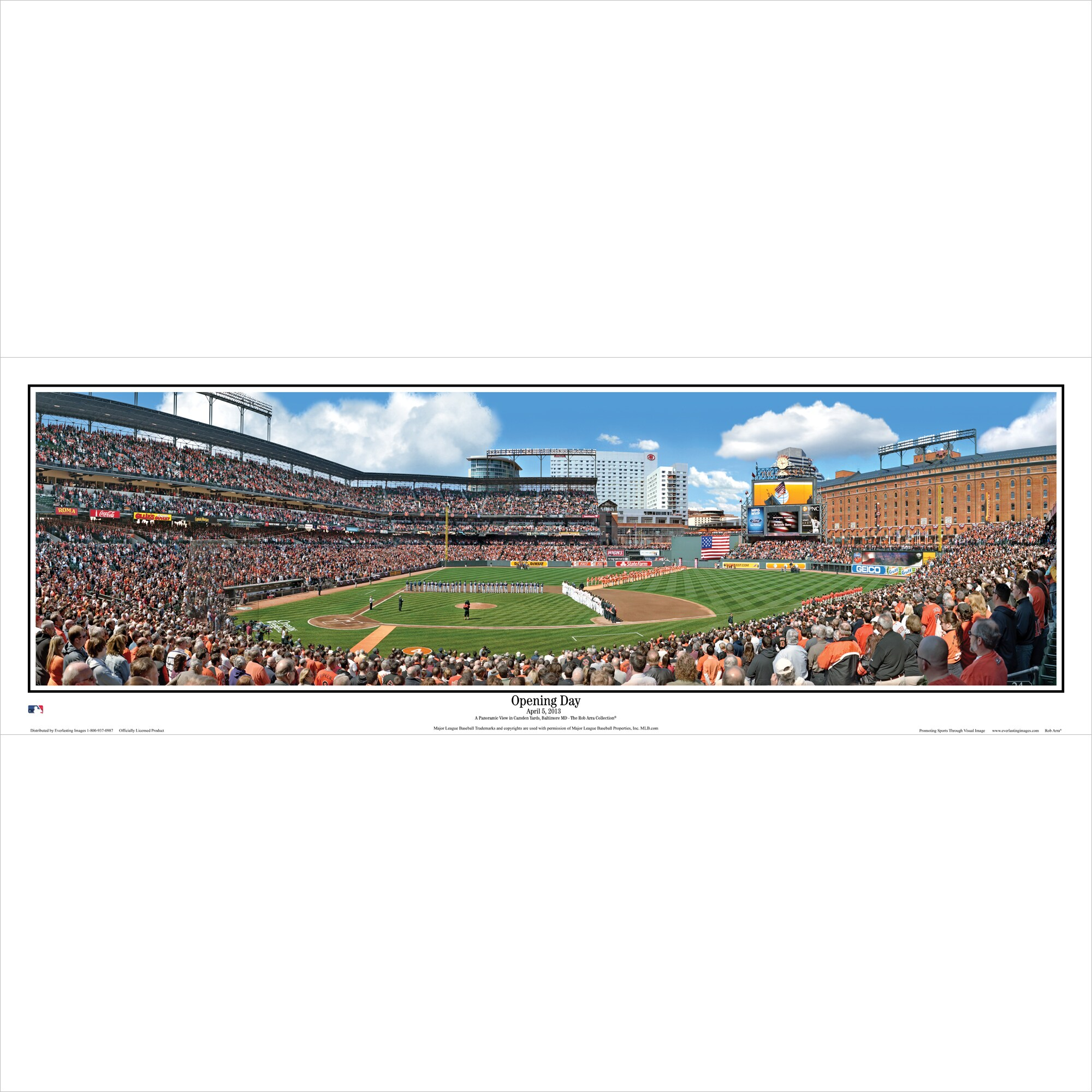 "Baltimore Orioles 39"" x 13.5"" Opening Day Standard Black Framed Panoramic"