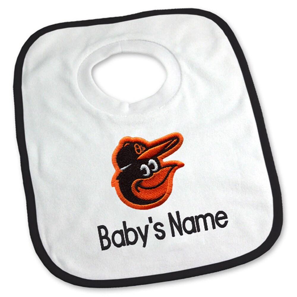 Baltimore Orioles Newborn & Infant Personalized Bib - White