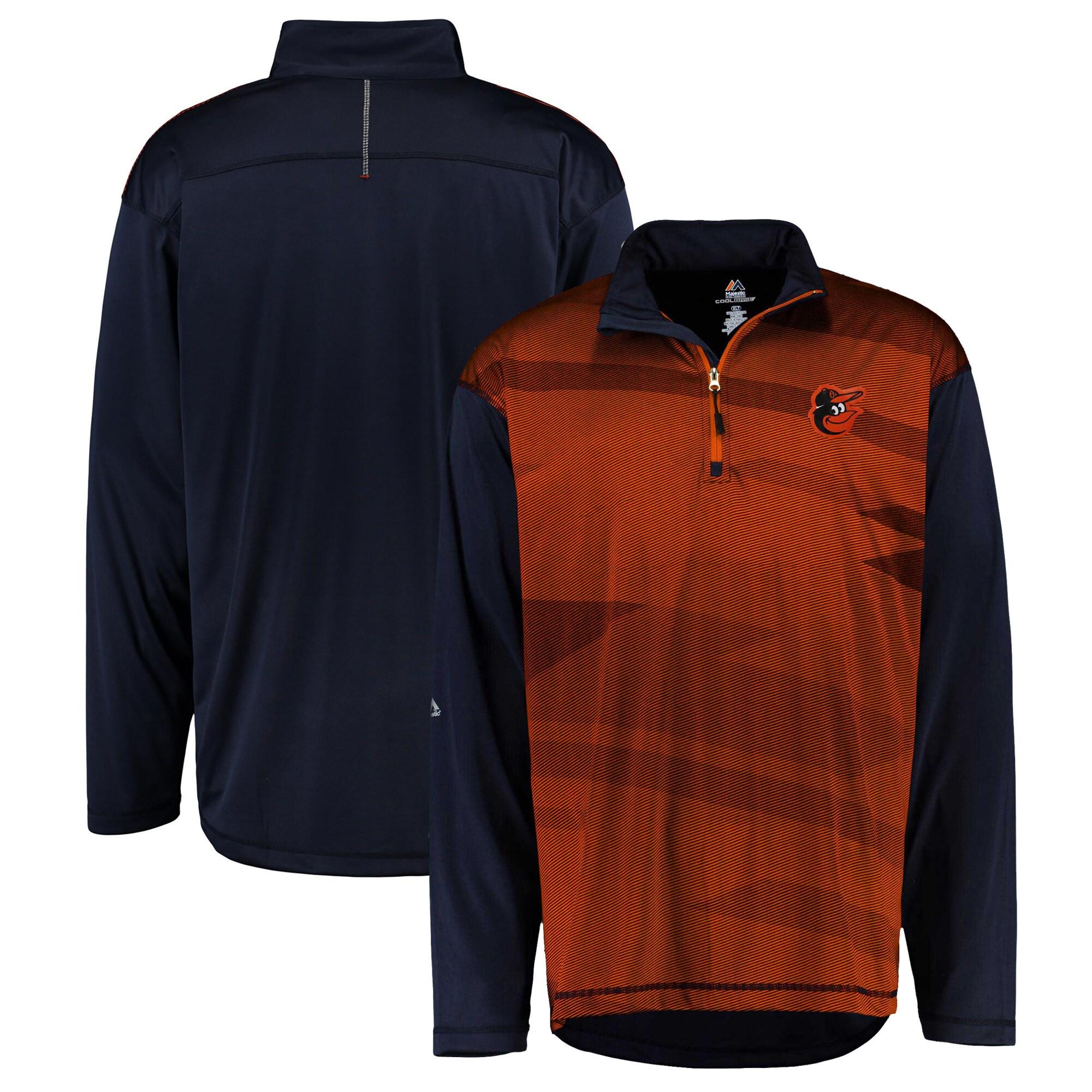 Baltimore Orioles Majestic Big & Tall Cool Base Quarter-Zip Sweatshirt - Black/Orange