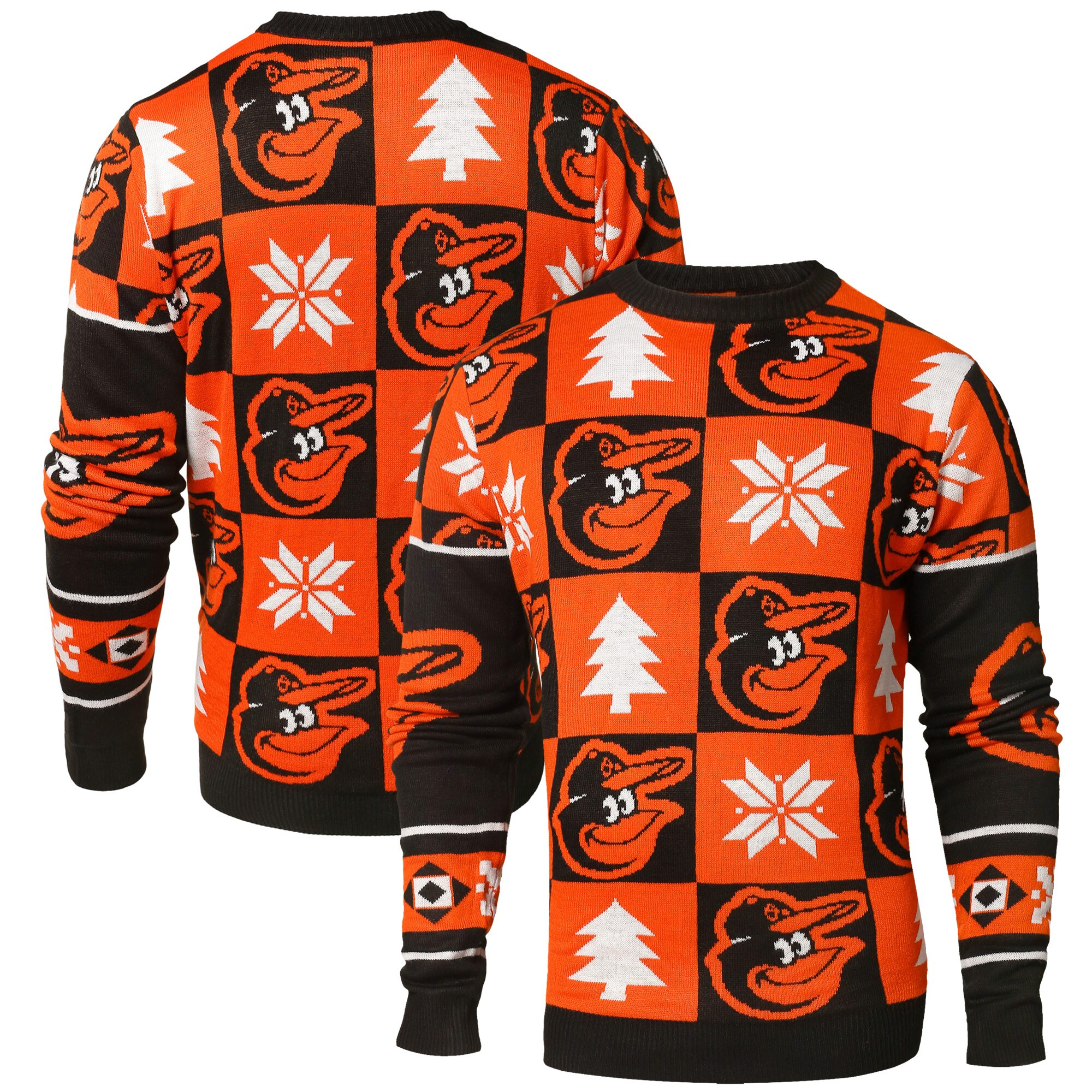 Baltimore Orioles Patches Ugly Pullover Sweater - Black