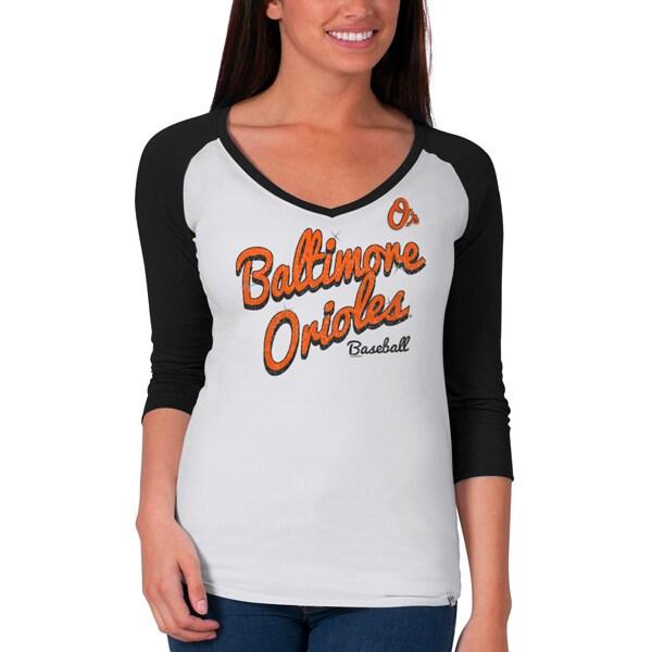Baltimore Orioles Women's Batter Up 3/4-Raglan Sleeve T-Shirt - White