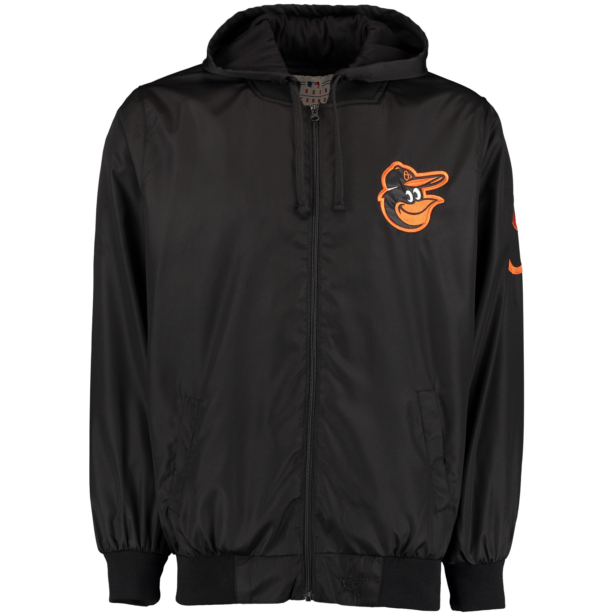 Baltimore Orioles JH Design Nylon Mesh Lined Hooded Jacket - Black