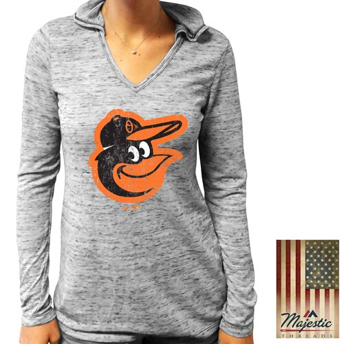 Baltimore Orioles Majestic Threads Women's Thermal Long Sleeve Hoodie V-Neck T-Shirt - Black