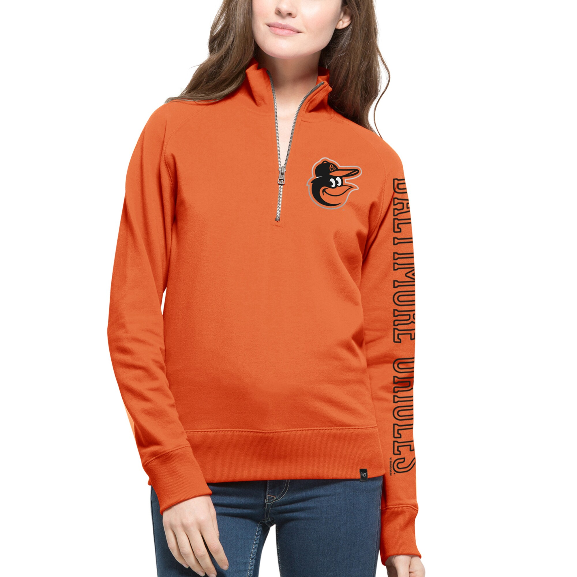 Baltimore Orioles '47 Women's Shimmer Cross-Check Quarter-Zip Sweatshirt - Orange