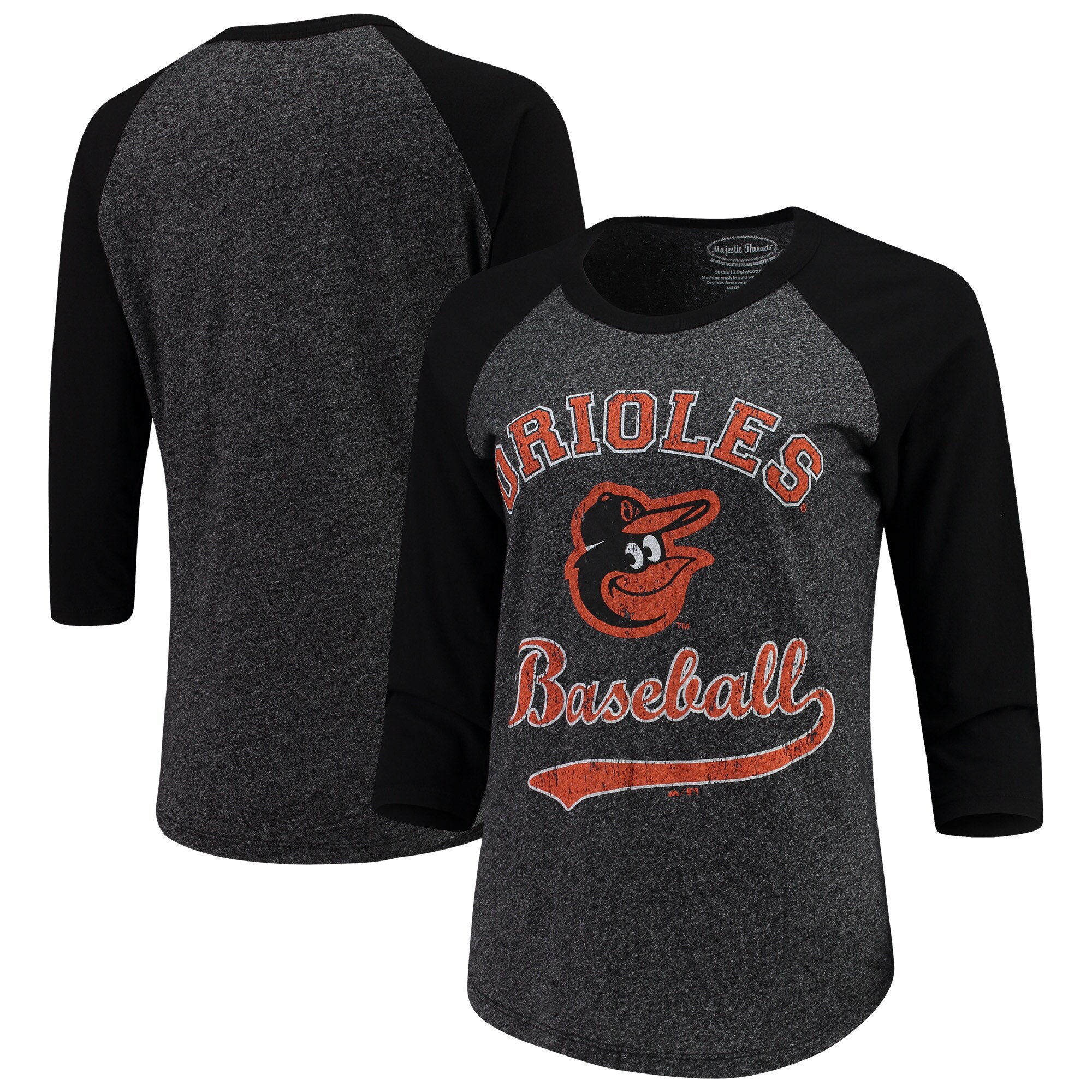 Baltimore Orioles Majestic Threads Women's Team Baseball Three-Quarter Raglan Sleeve Tri-Blend T-Shirt - Black