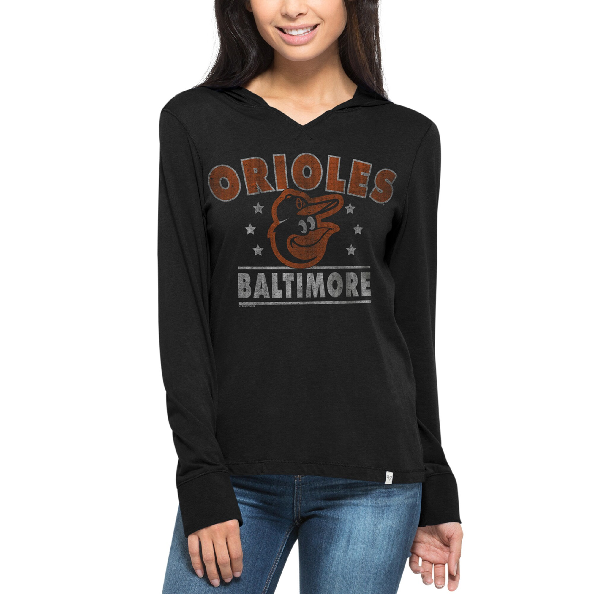 Baltimore Orioles '47 Women's Rebound Hoodie Long Sleeve T-Shirt - Black