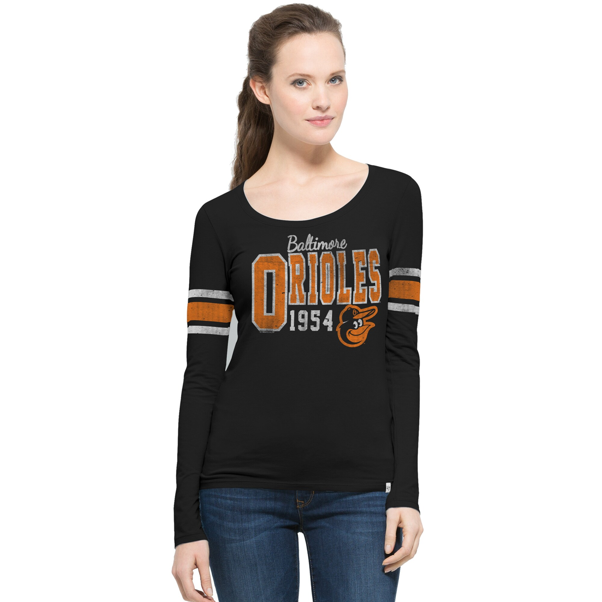 Baltimore Orioles '47 Women's Homerun Scoop Long Sleeve T-Shirt - Black