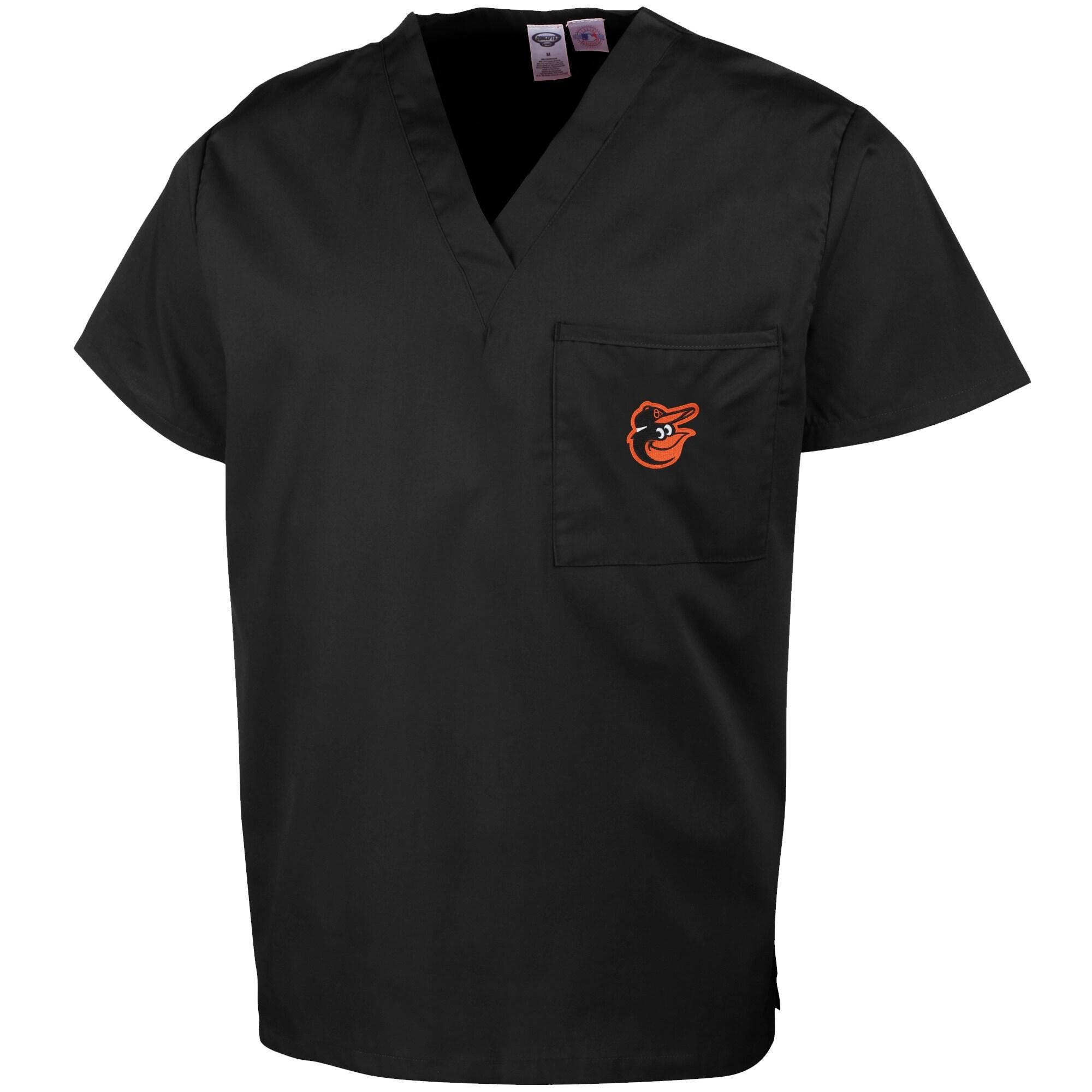 Baltimore Orioles Unisex Scrub Top - Black