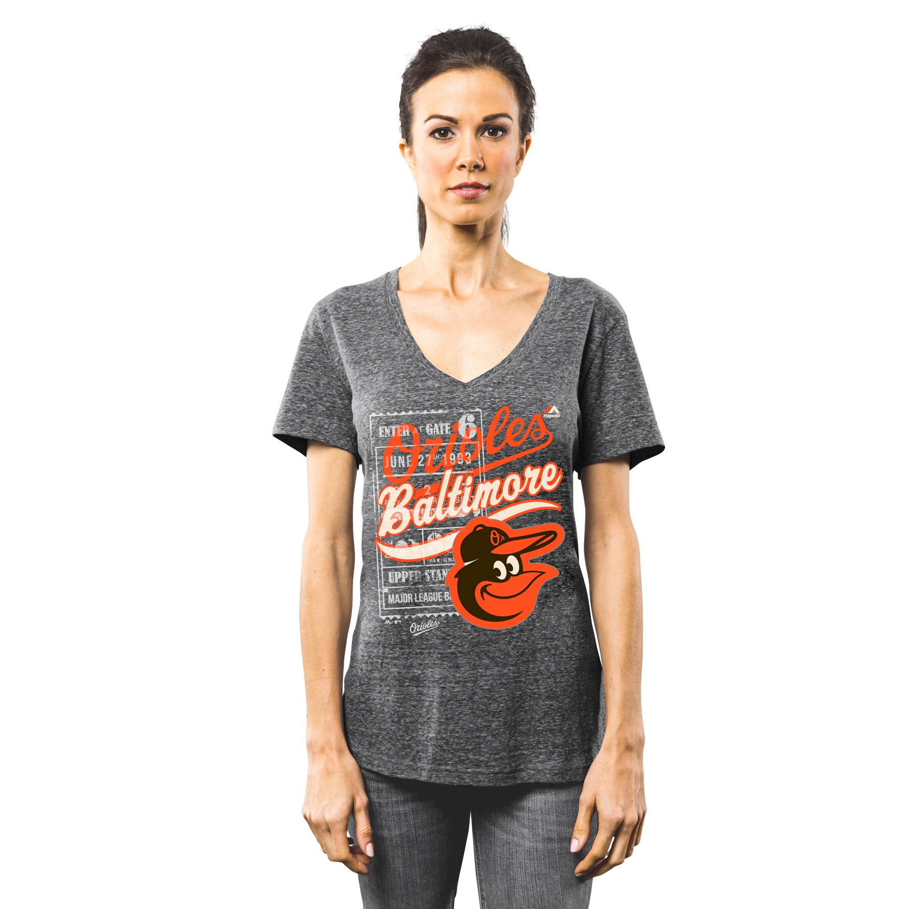 Baltimore Orioles Majestic Women's V-Neck Terrorizing Play T-Shirt - Gray