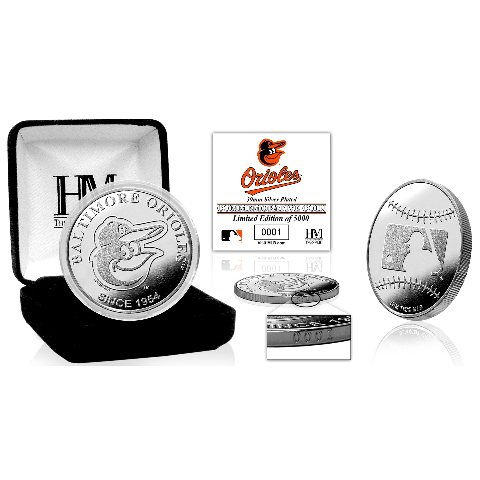 Baltimore Orioles Highland Mint Silver Mint Coin