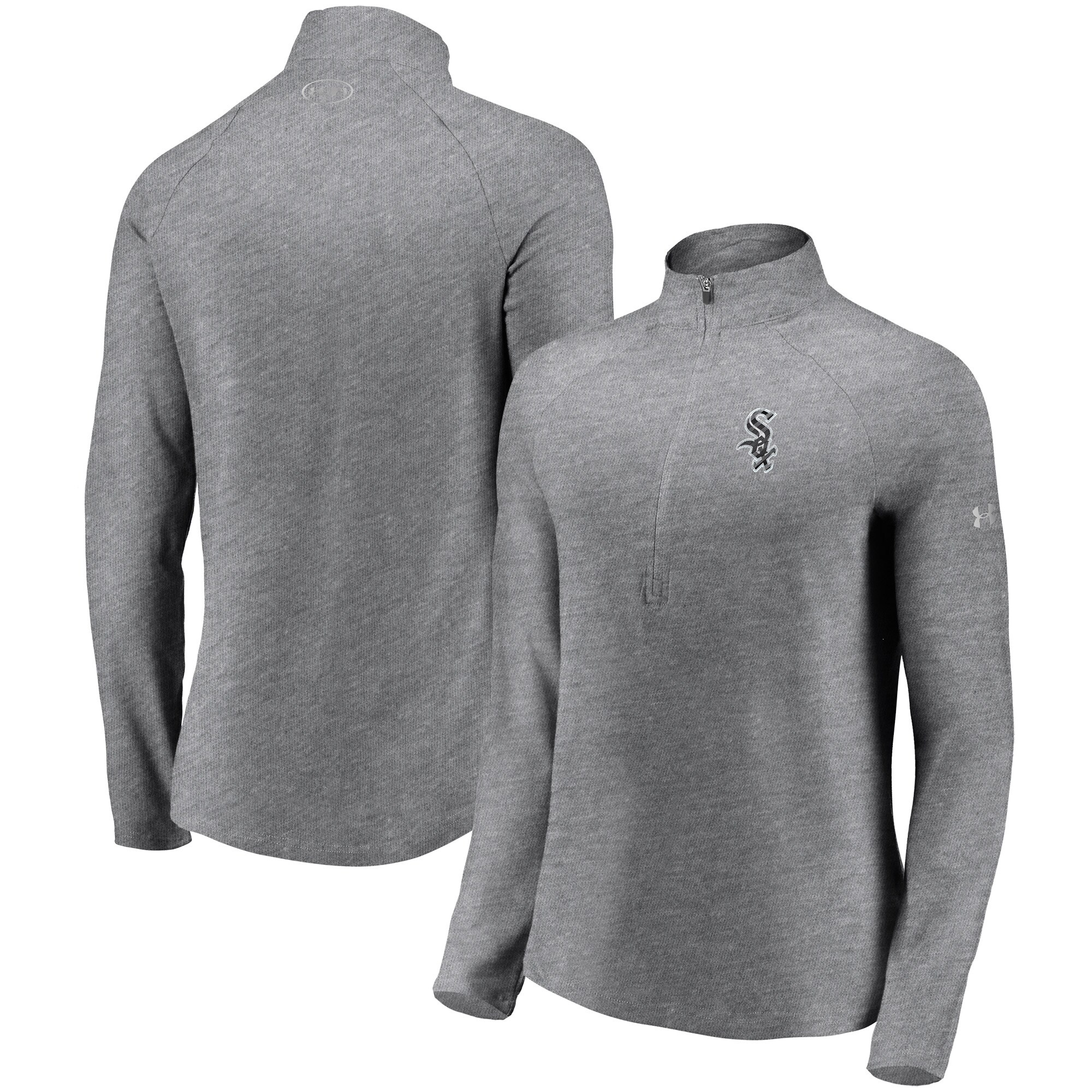 Chicago White Sox Under Armour Women's Passion Alternate Performance Tri-Blend Raglan Half-Zip Pullover Jacket - Heathered Gray