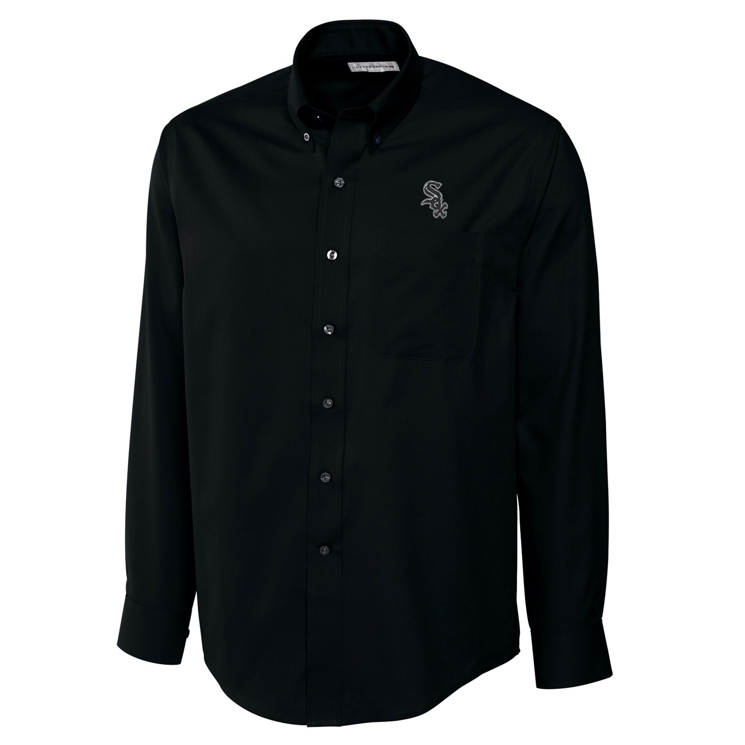 Chicago White Sox Cutter & Buck Big & Tall Epic Easy Care Fine Twill Long Sleeve Shirt - Black
