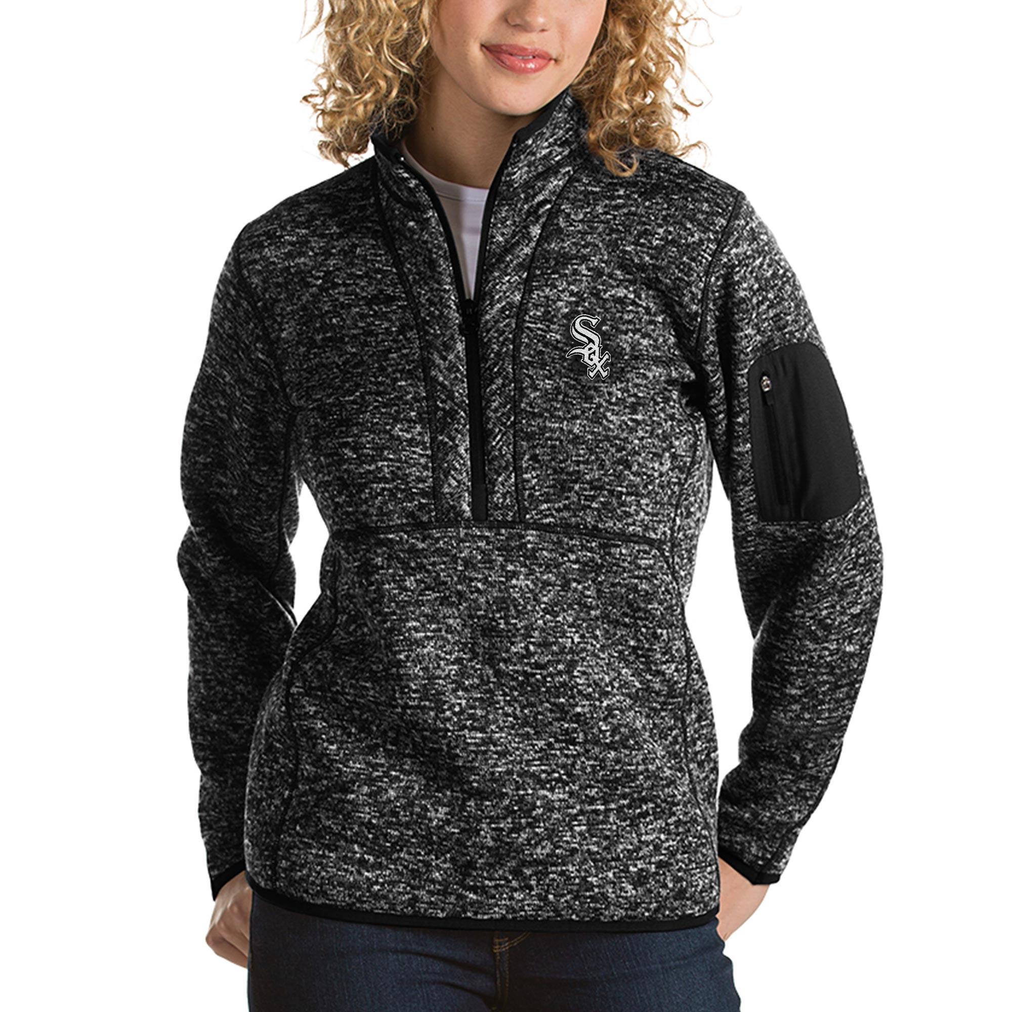 Chicago White Sox Antigua Women's Fortune Half-Zip Pullover Sweater - Heathered Black