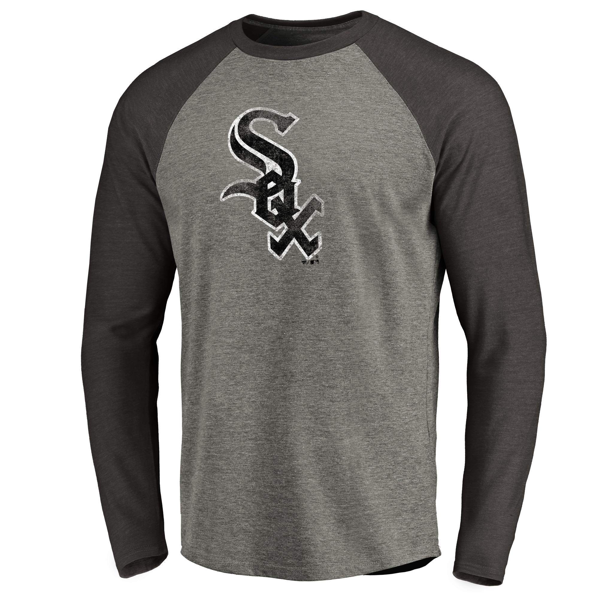 Chicago White Sox Distressed Team Raglan Tri-Blend Long Sleeve T-Shirt - Ash