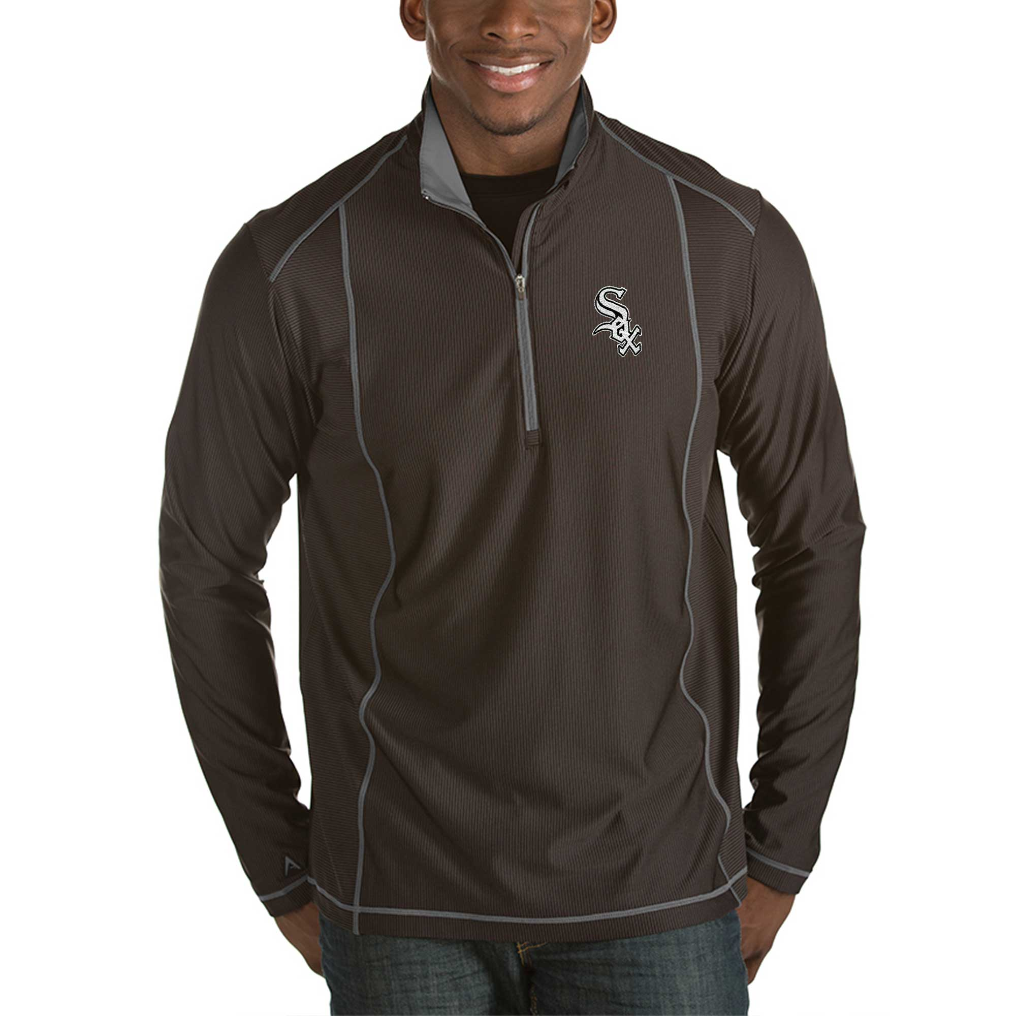 Chicago White Sox Antigua Tempo Half-Zip Pullover Jacket - Heathered Black