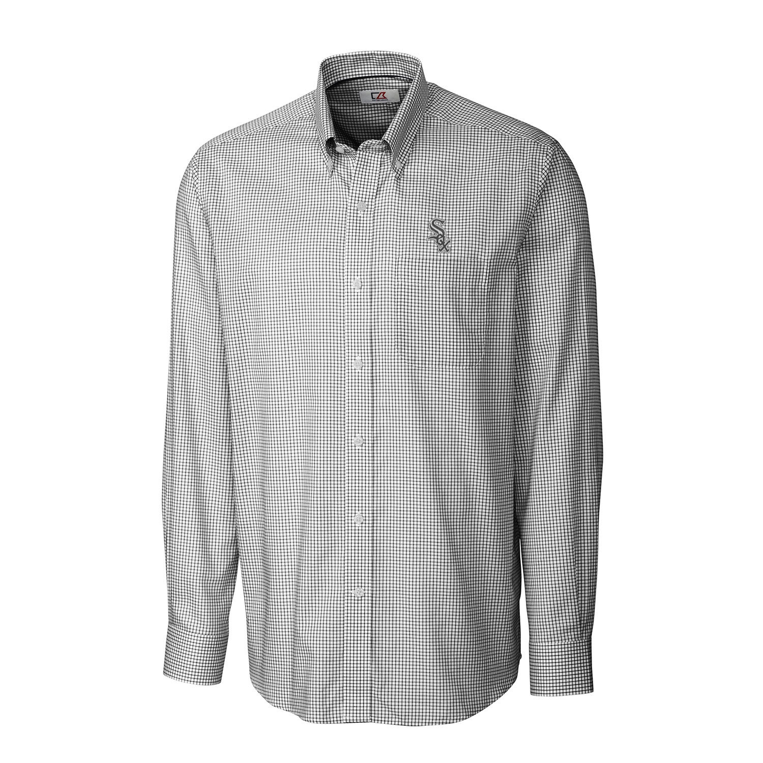 Chicago White Sox Cutter & Buck Tattersall Woven Long Sleeve Button-Down Shirt - Black