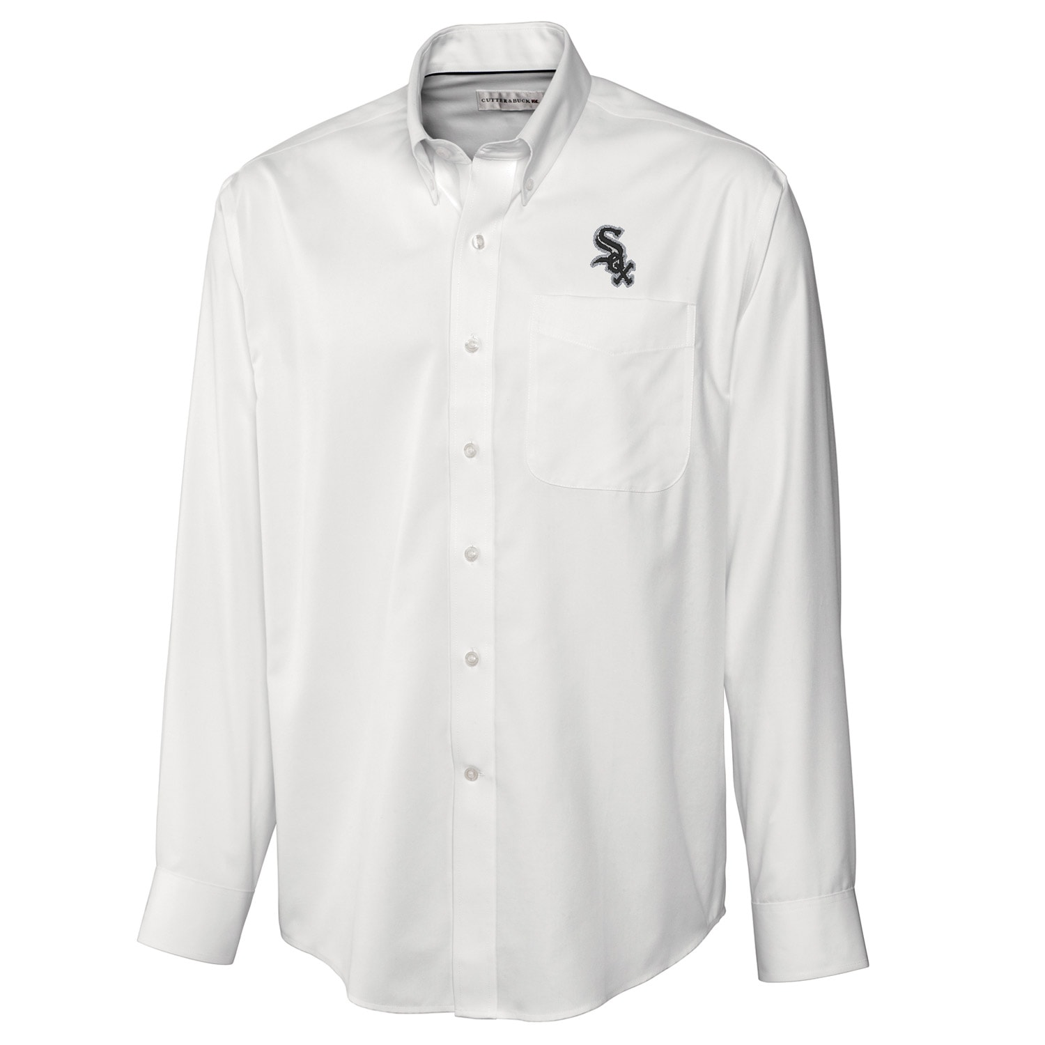 Chicago White Sox Cutter & Buck Big & Tall Epic Easy Care Fine Twill Long Sleeve Shirt - White