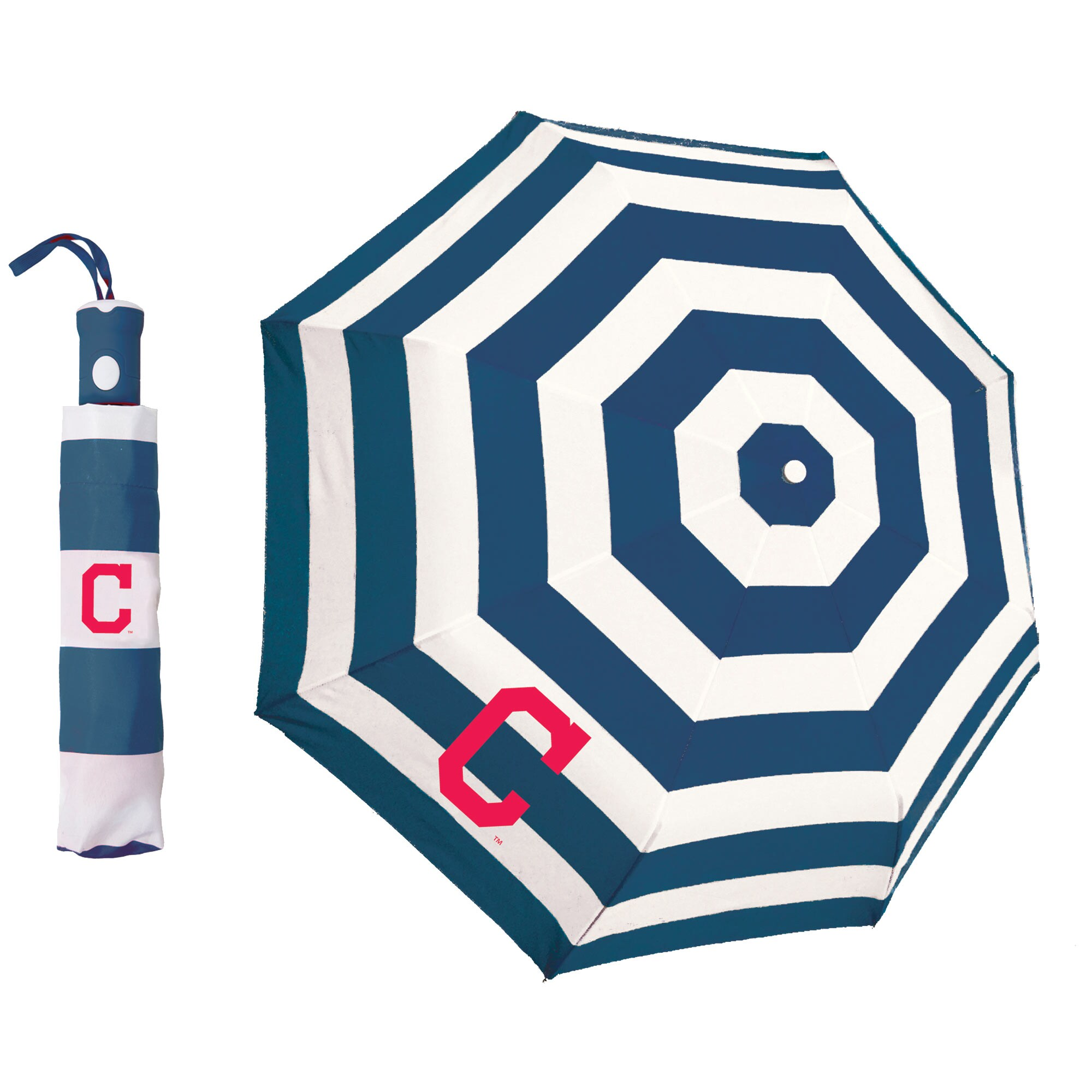 Cleveland Indians Cabana Stripe Folding Umbrella