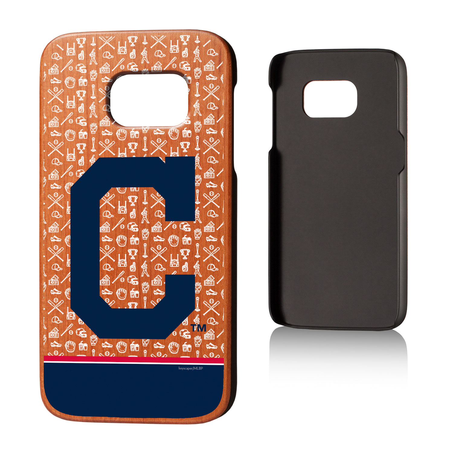 Cleveland Indians Galaxy S7 Stripe Logo Cherry Wood Case