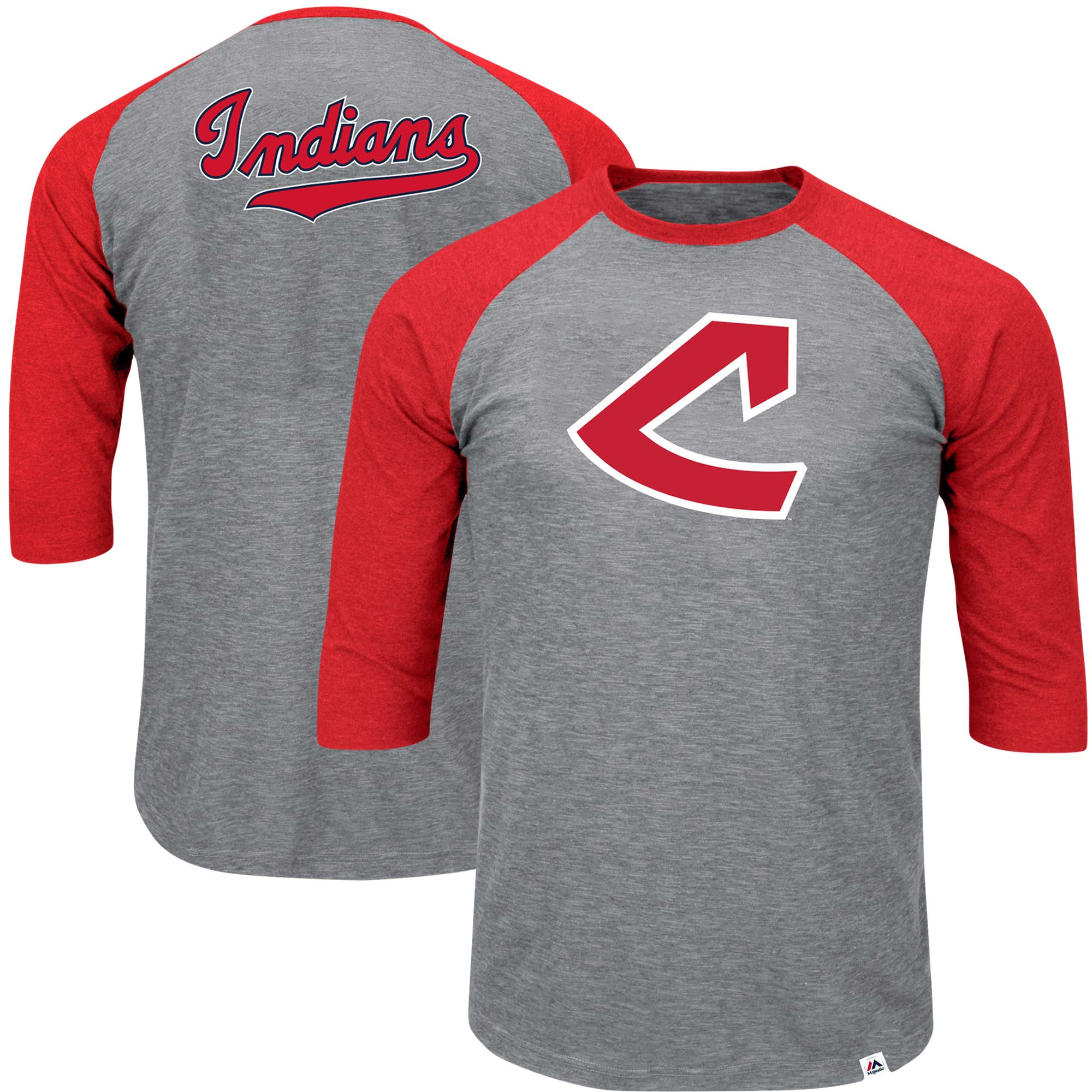 Cleveland Indians Majestic Big & Tall Cooperstown Collection Raglan 3/4-Sleeve T-Shirt - Heathered Gray/Red