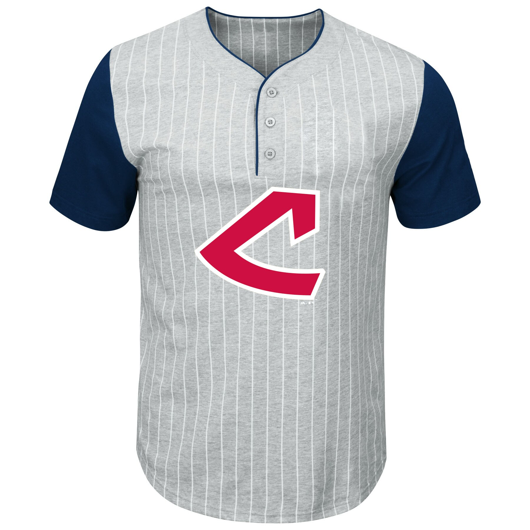 Cleveland Indians Majestic Big & Tall Cooperstown Collection Pinstripe Henley Raglan T-Shirt - Gray/Navy