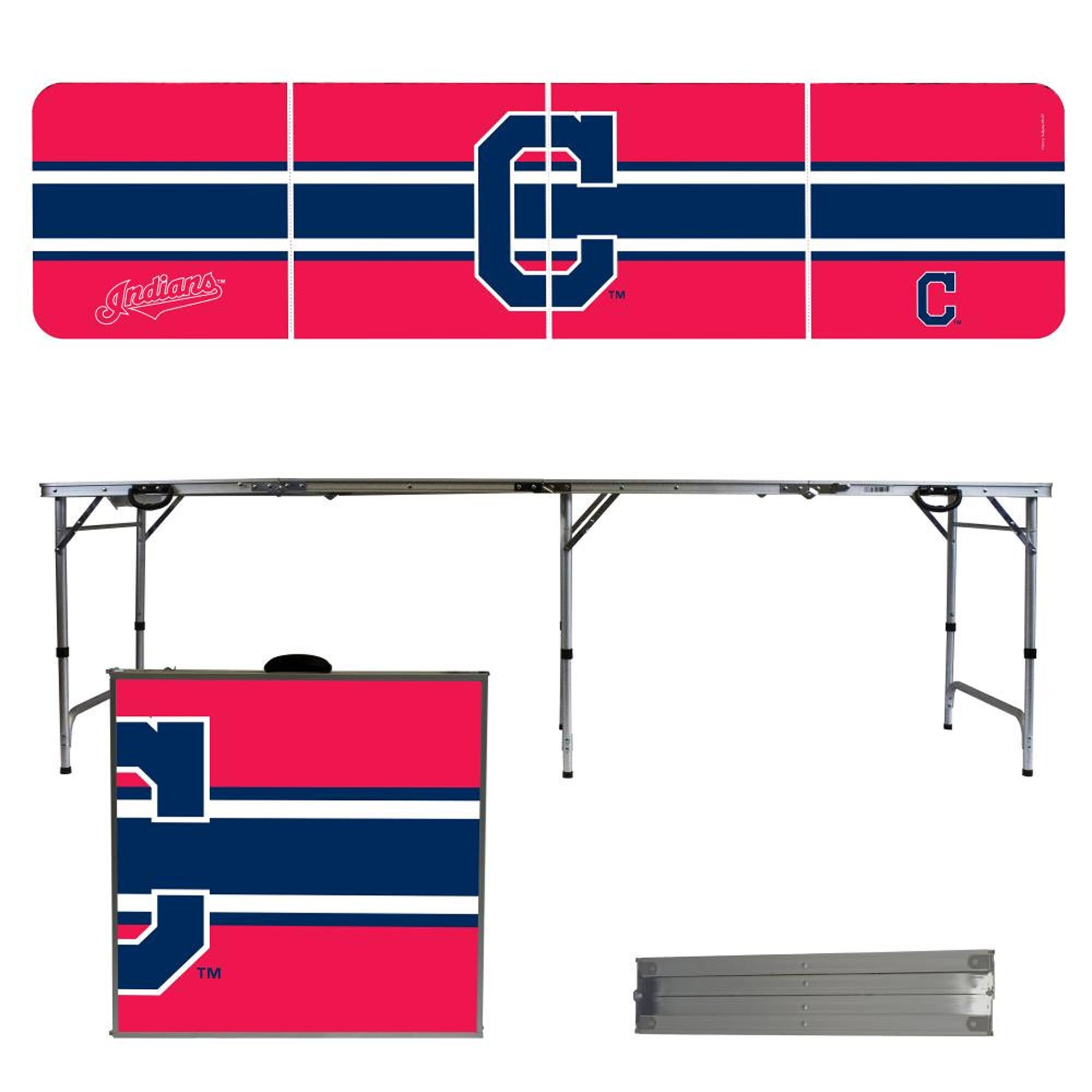 Cleveland Indians Striped Design 8' Portable Folding Tailgate Table