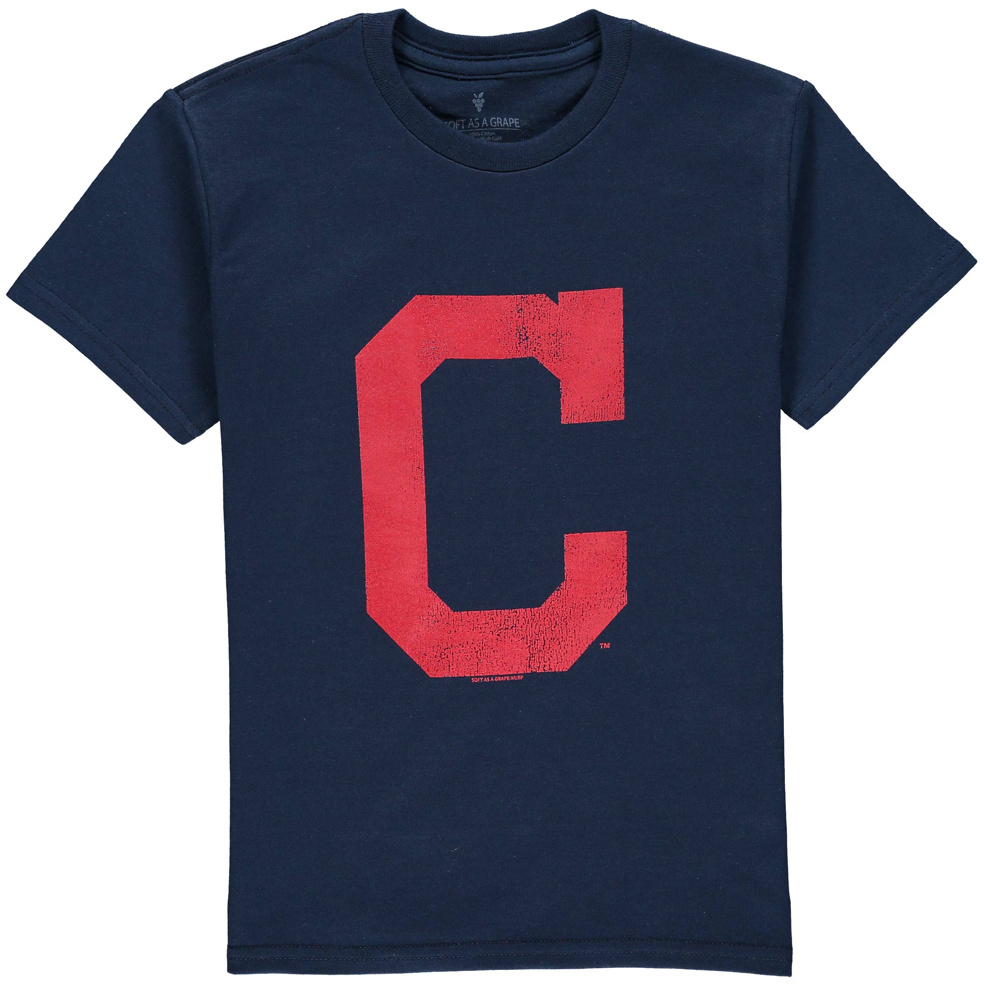 Cleveland Indians Soft as a Grape Youth Distressed Logo T-Shirt - Navy
