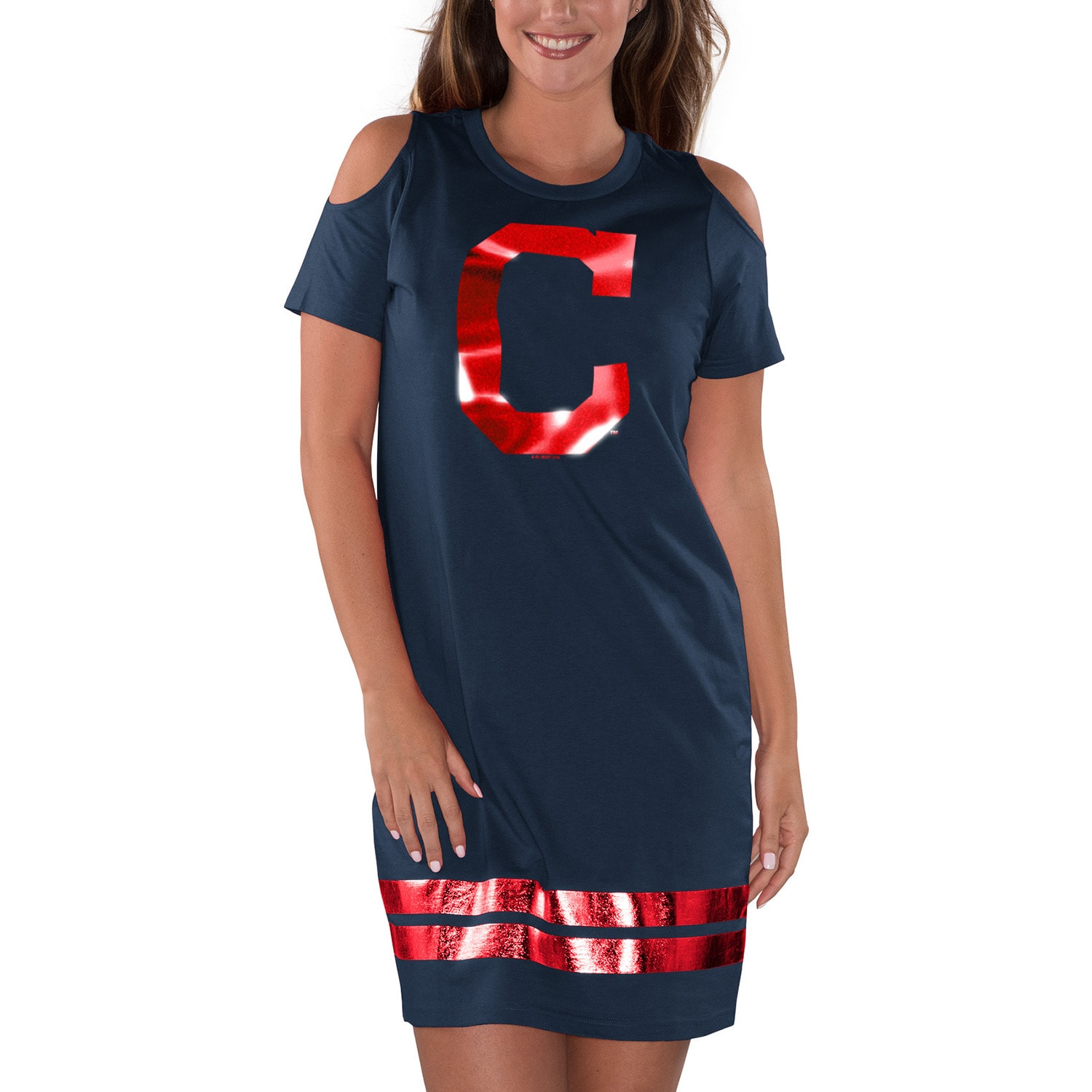 Cleveland Indians G-III 4Her by Carl Banks Women's Final's Tri-Blend Dress - Navy