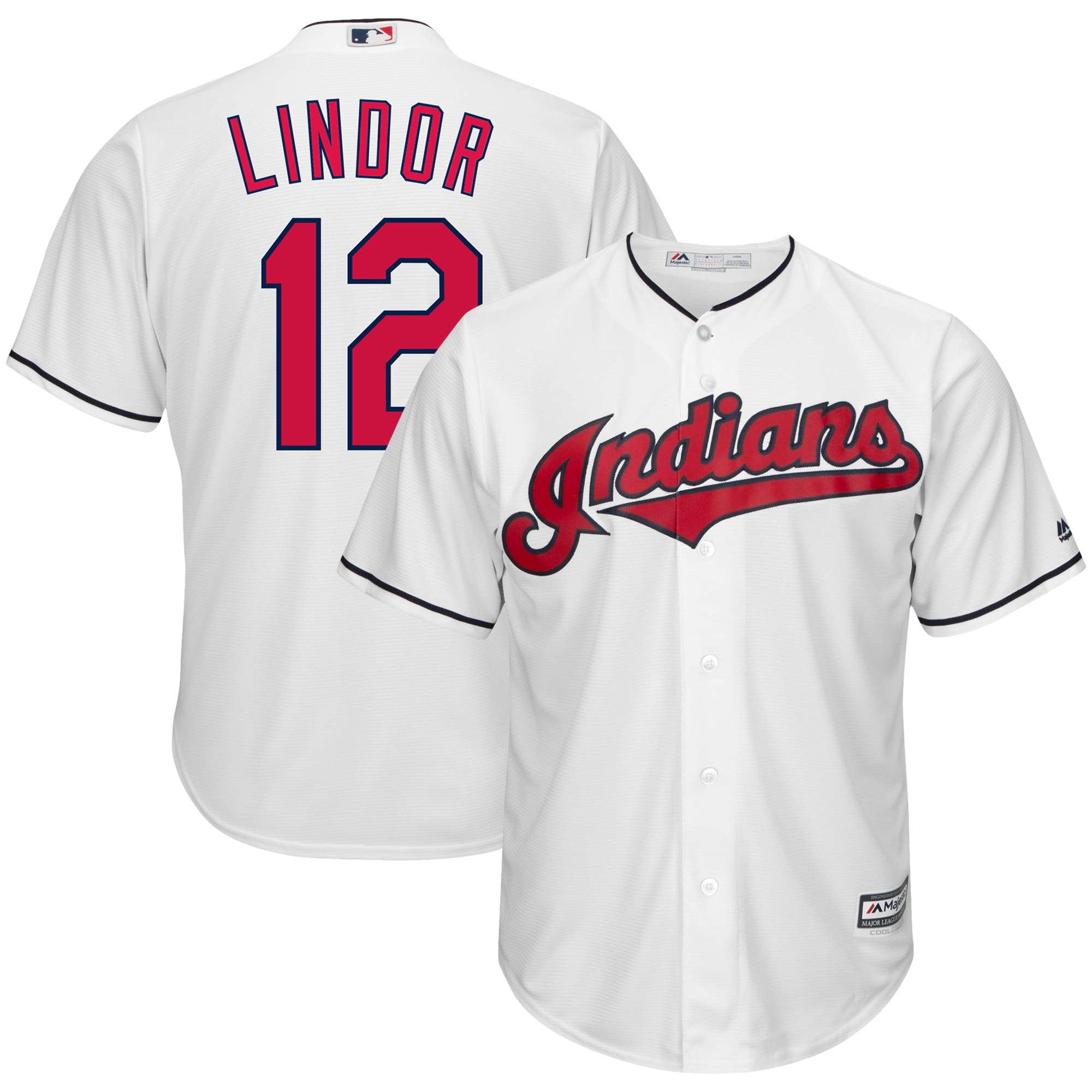 Francisco Lindor Cleveland Indians Majestic Home Big & Tall Cool Base Player Jersey - White