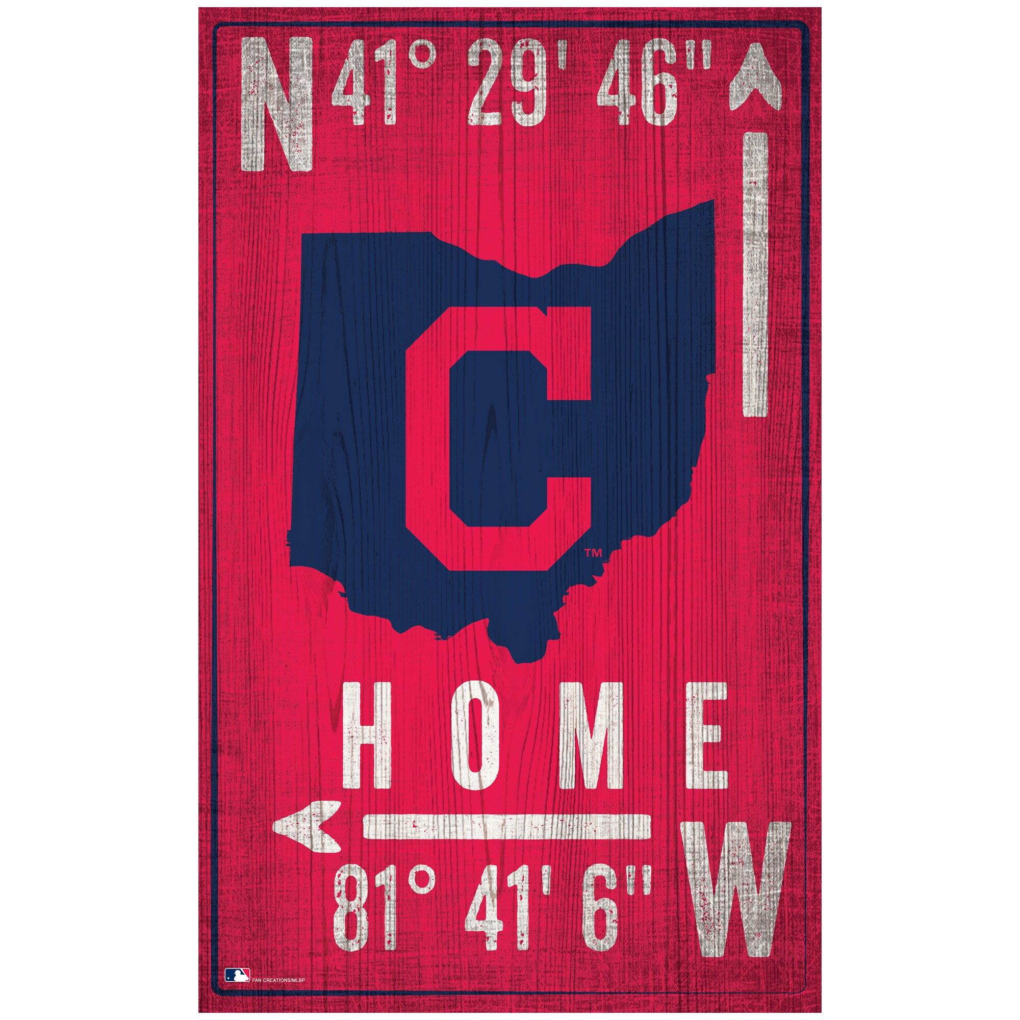 "Cleveland Indians 11"" x 19"" Coordinate Sign"