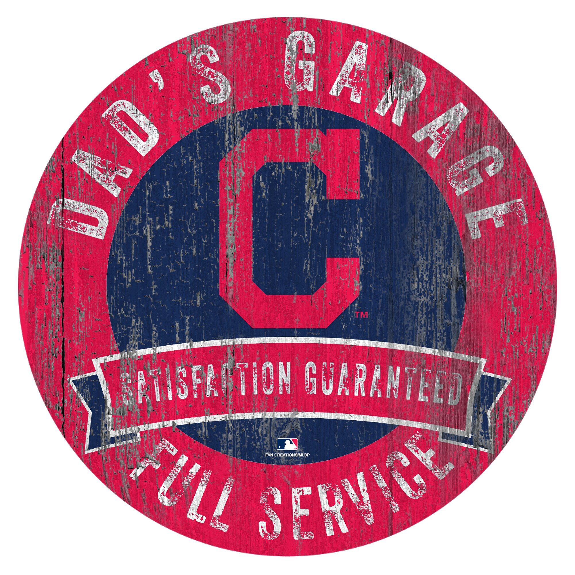 "Cleveland Indians 12"" x 12"" Dad's Garage Sign"